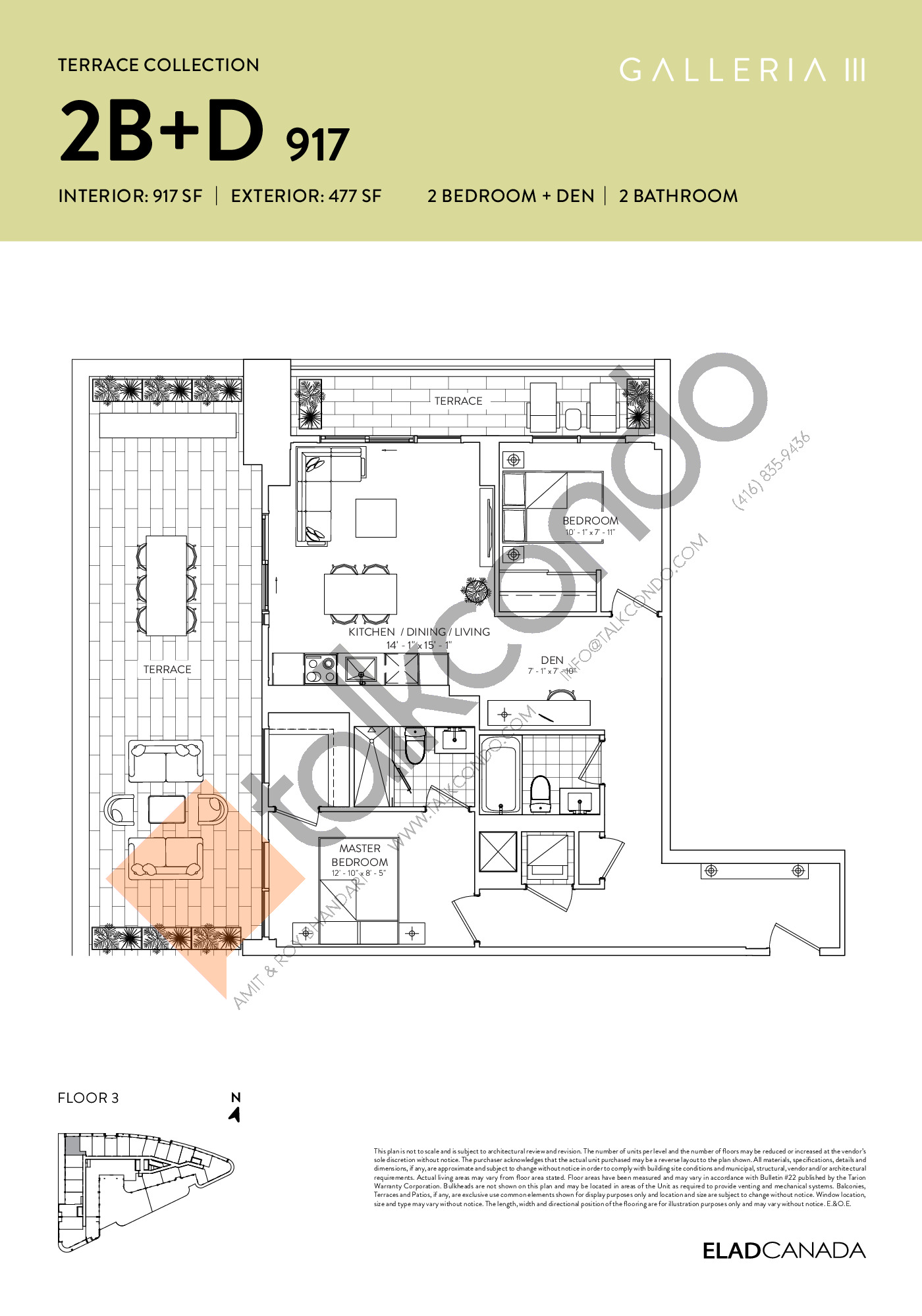 2B+D 917 - Terrace Collection Floor Plan at Galleria 03 Condos - 917 sq.ft