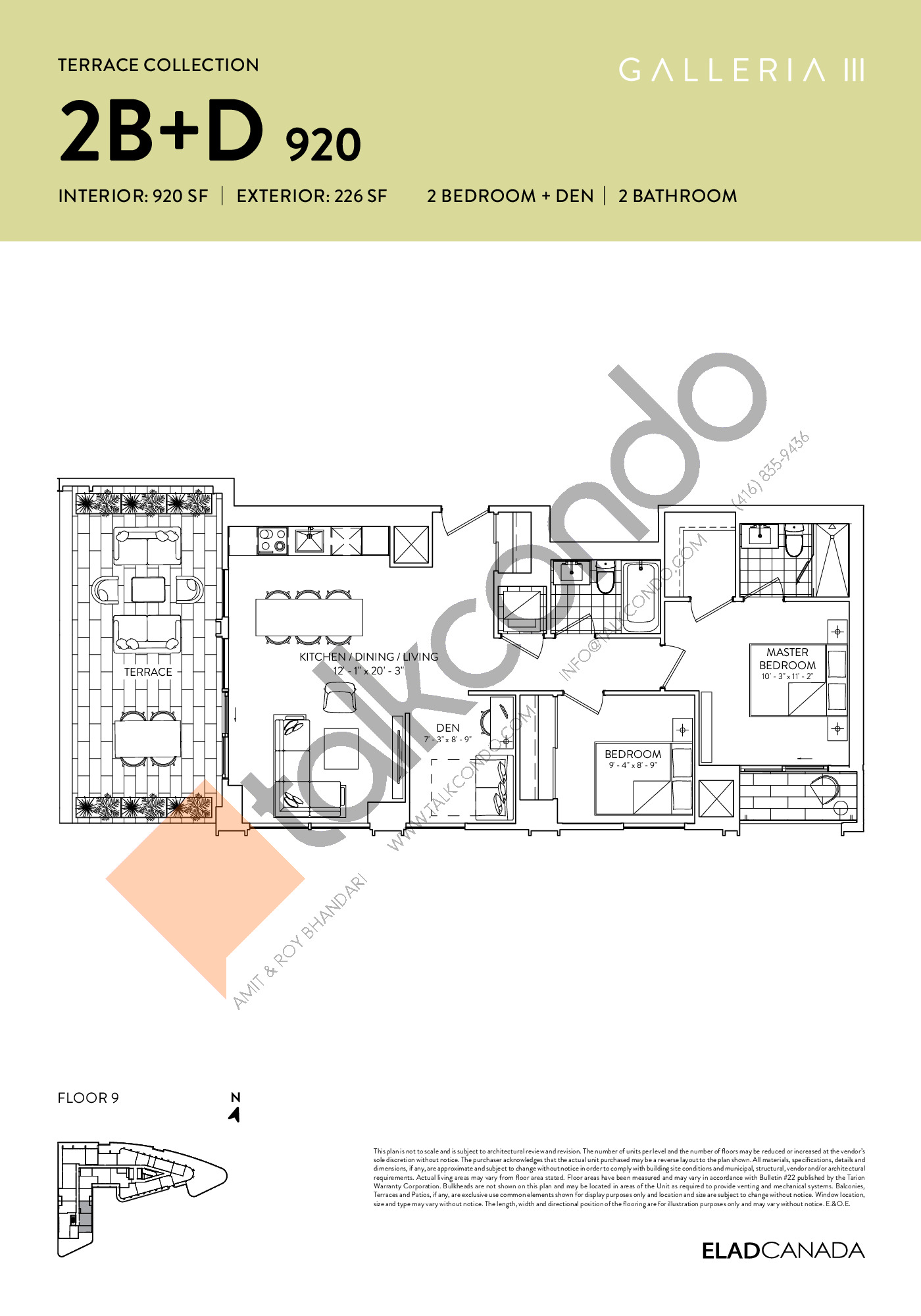 2B+D 920 - Terrace Collection Floor Plan at Galleria 03 Condos - 920 sq.ft