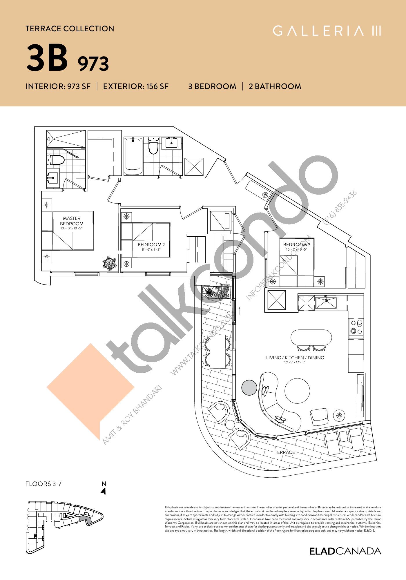 3B 973 - Terrace Collection Floor Plan at Galleria 03 Condos - 973 sq.ft