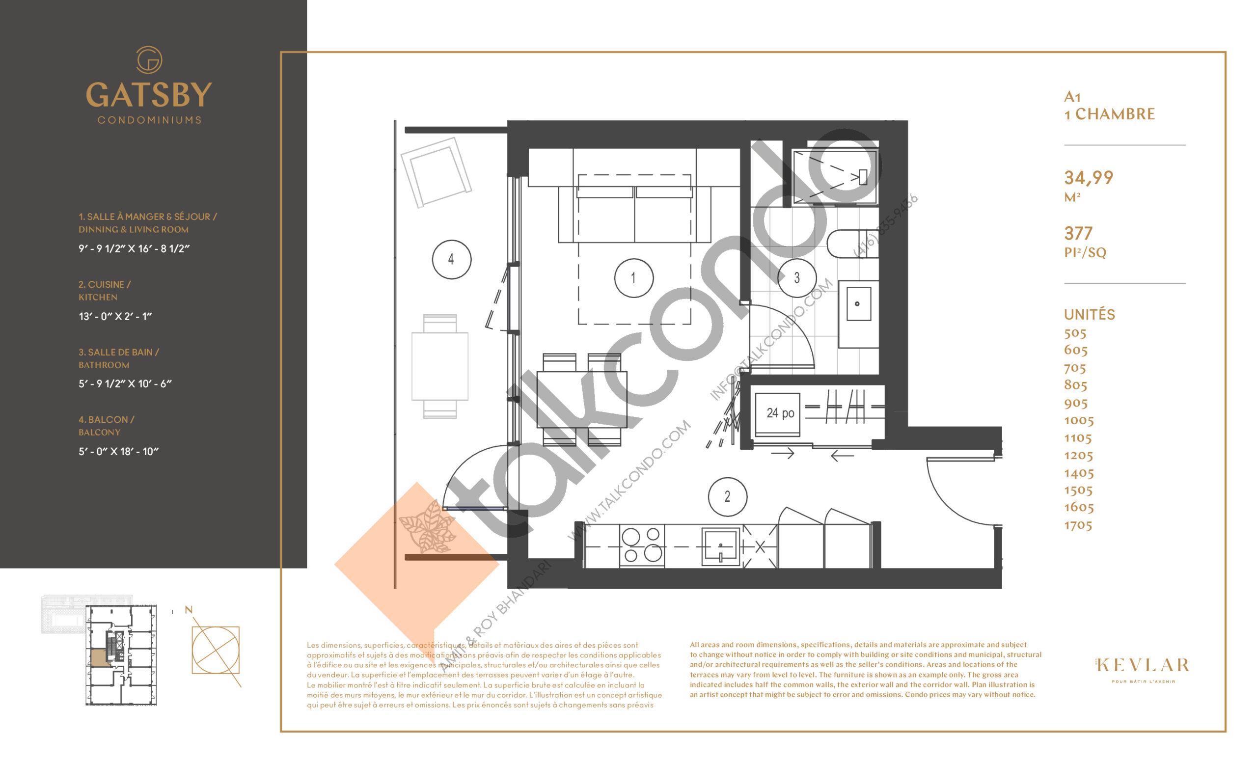 A1 Floor Plan at Gatsby Condos - 377 sq.ft