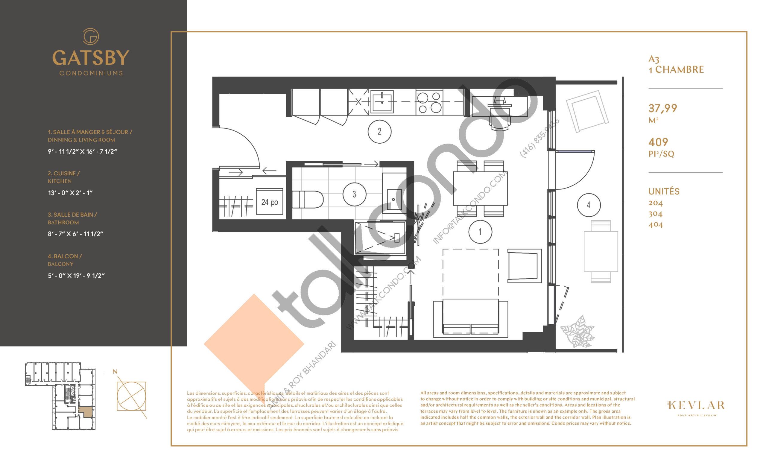 A3 Floor Plan at Gatsby Condos - 409 sq.ft