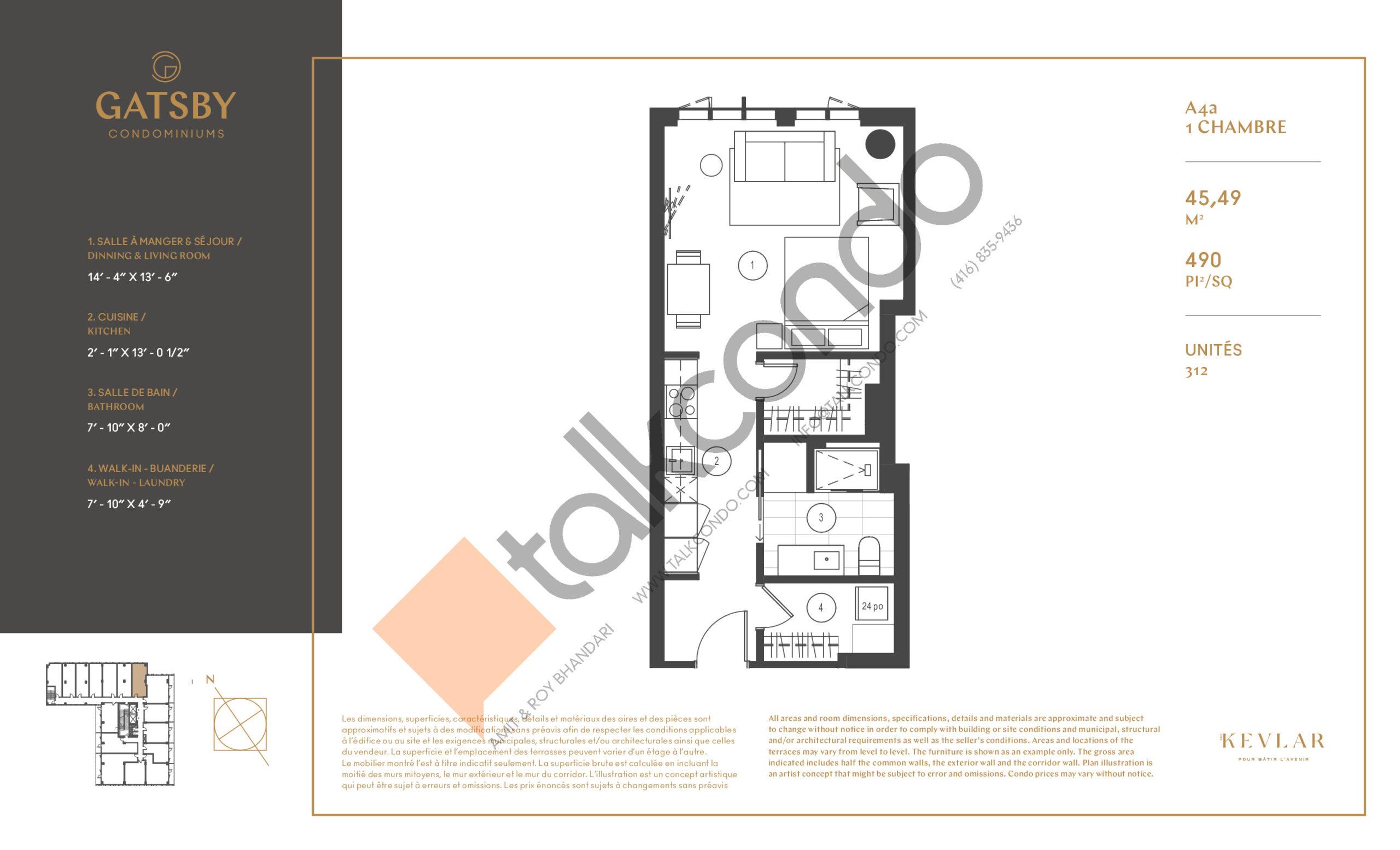 A4a Floor Plan at Gatsby Condos - 490 sq.ft
