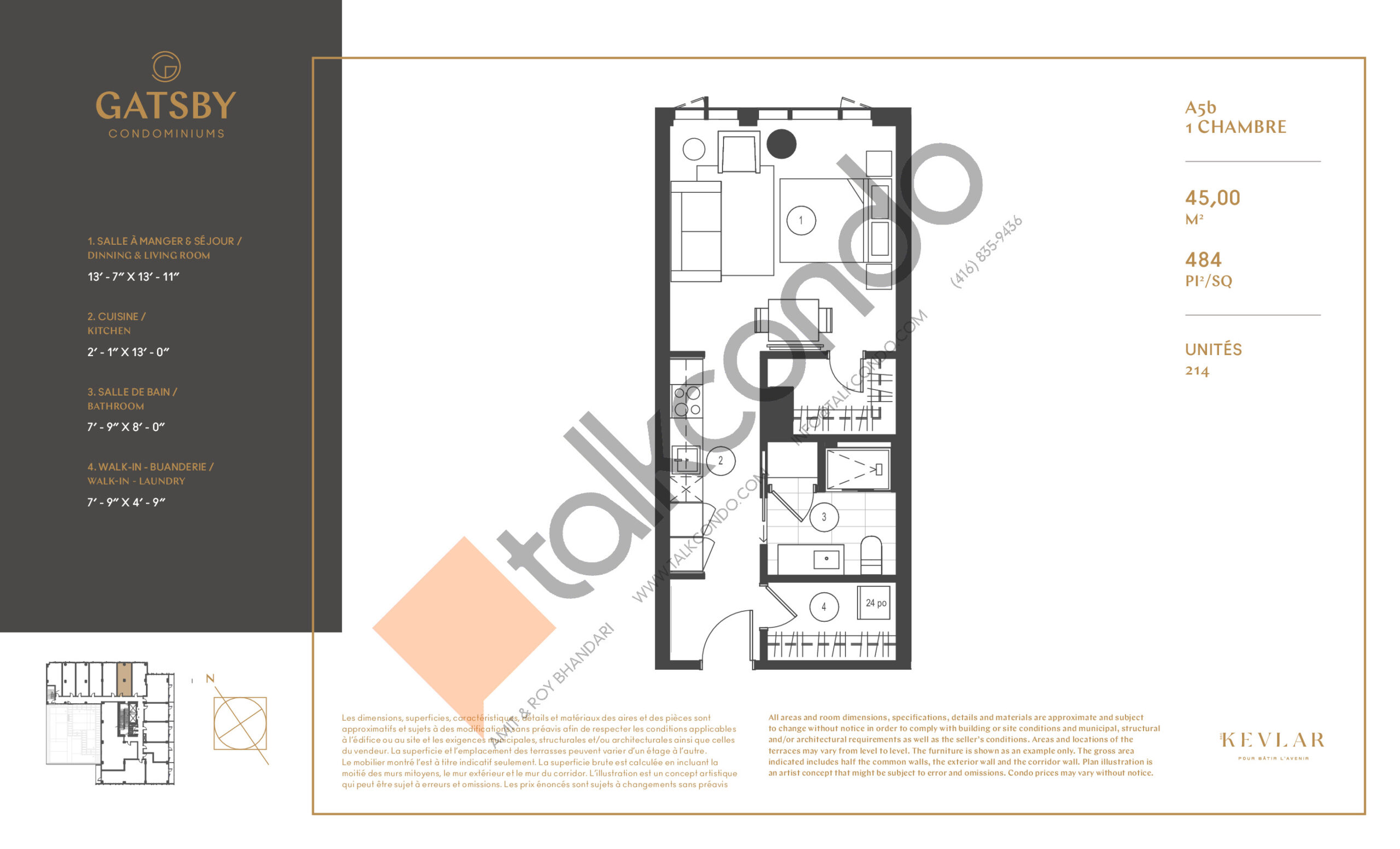 A5b Floor Plan at Gatsby Condos - 484 sq.ft