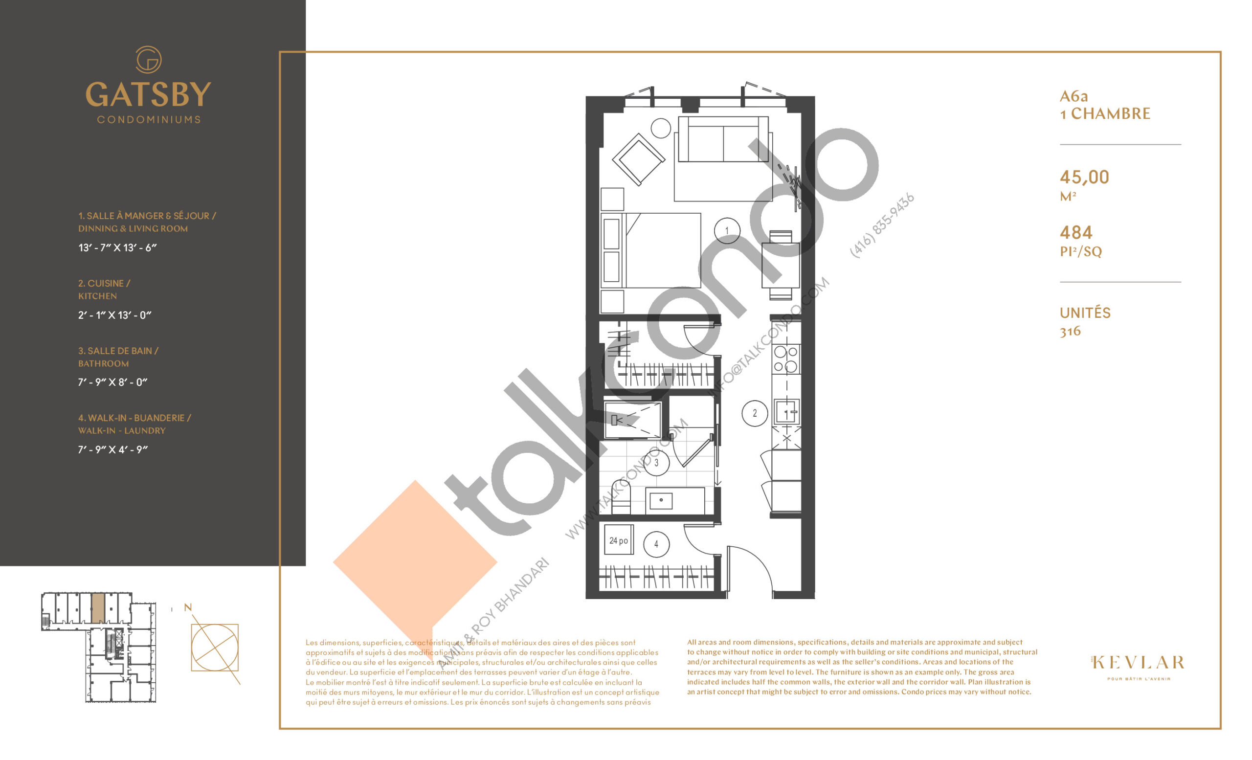 A6a Floor Plan at Gatsby Condos - 484 sq.ft