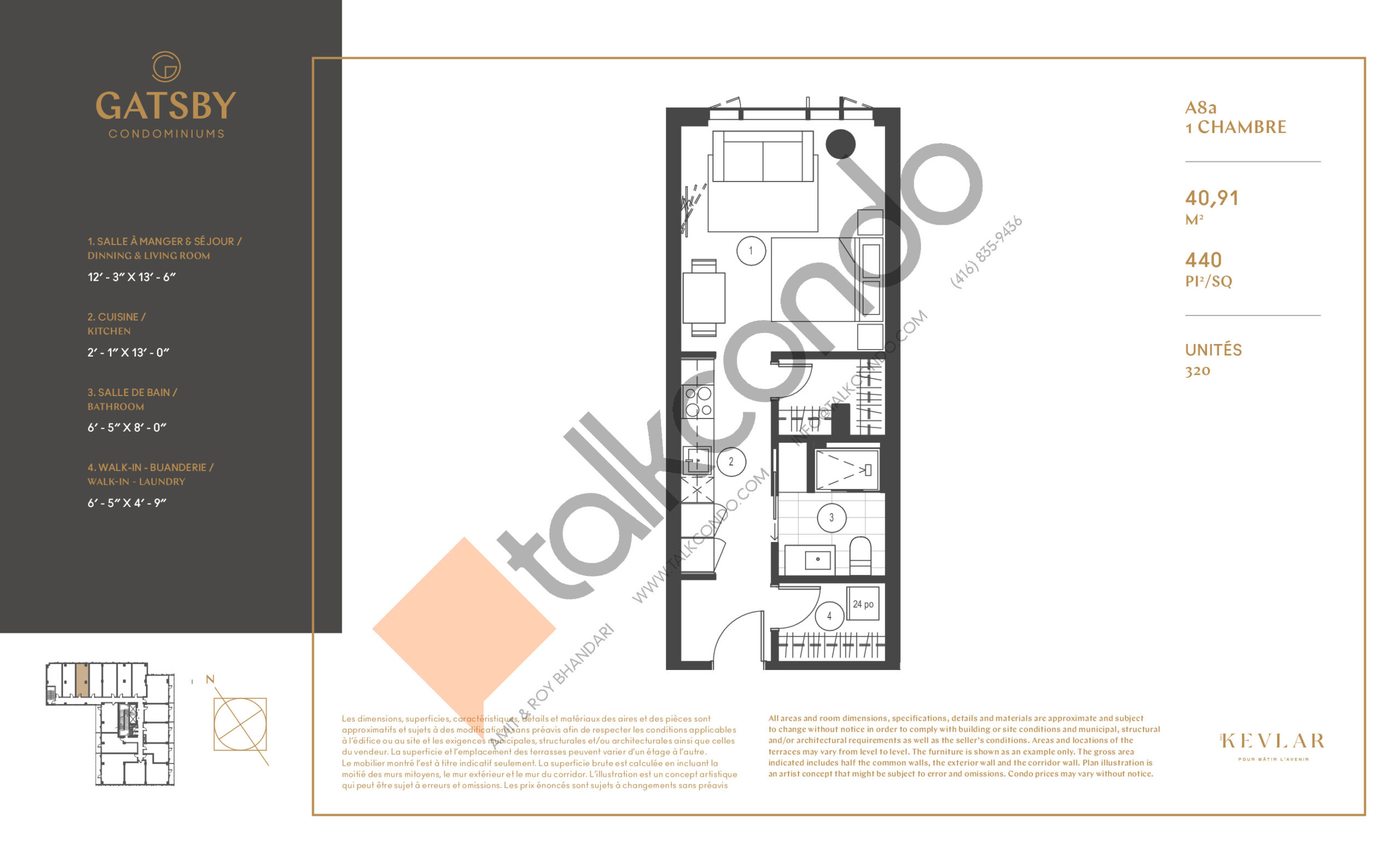 A8a Floor Plan at Gatsby Condos - 440 sq.ft