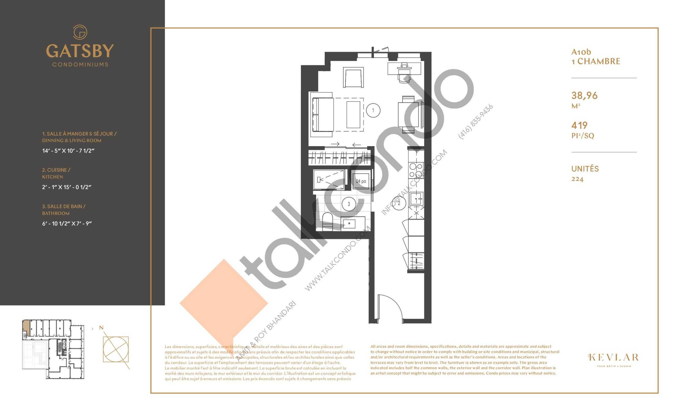 A10b Floor Plan at Gatsby Condos - 419 sq.ft