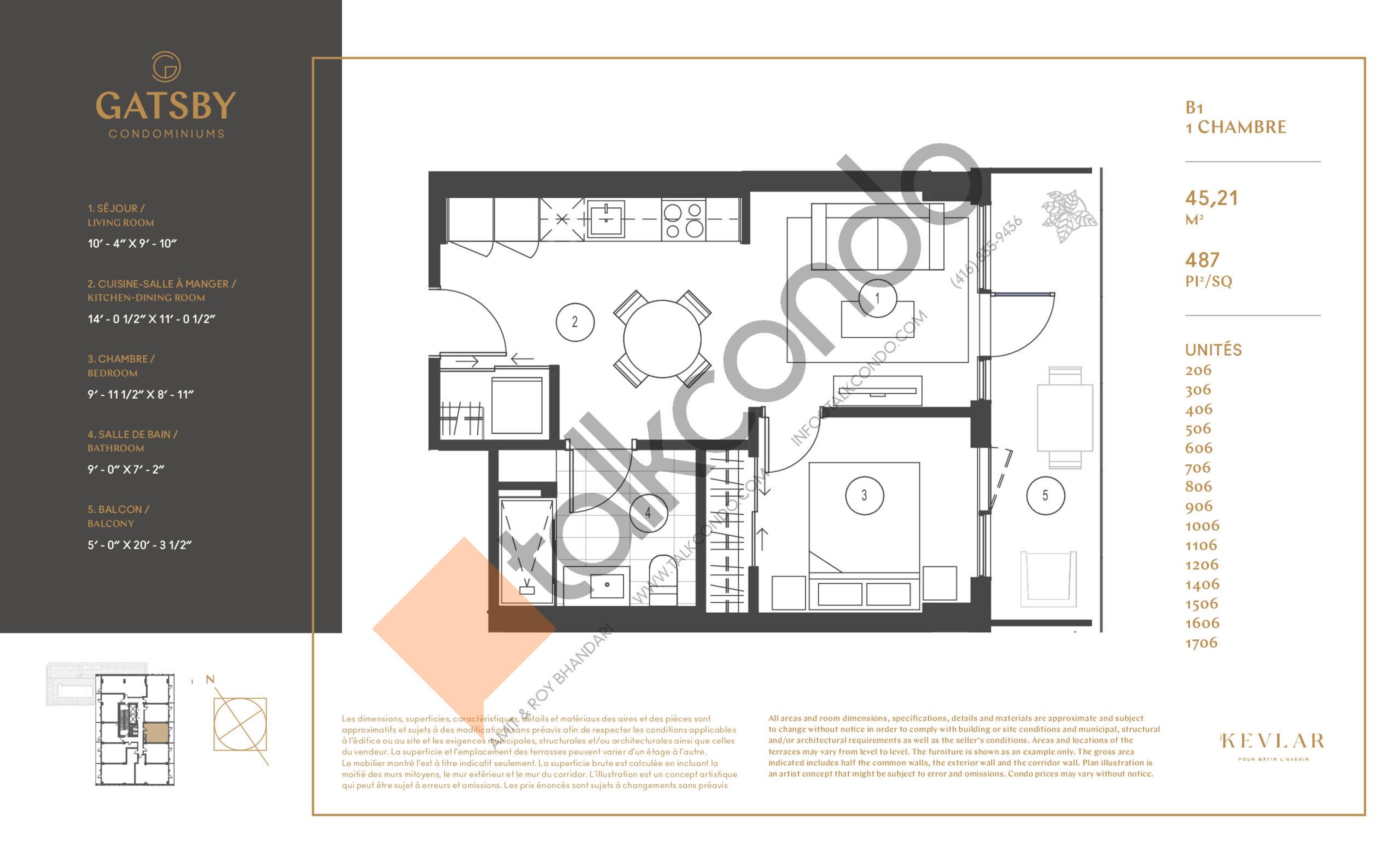 B1 Floor Plan at Gatsby Condos - 487 sq.ft