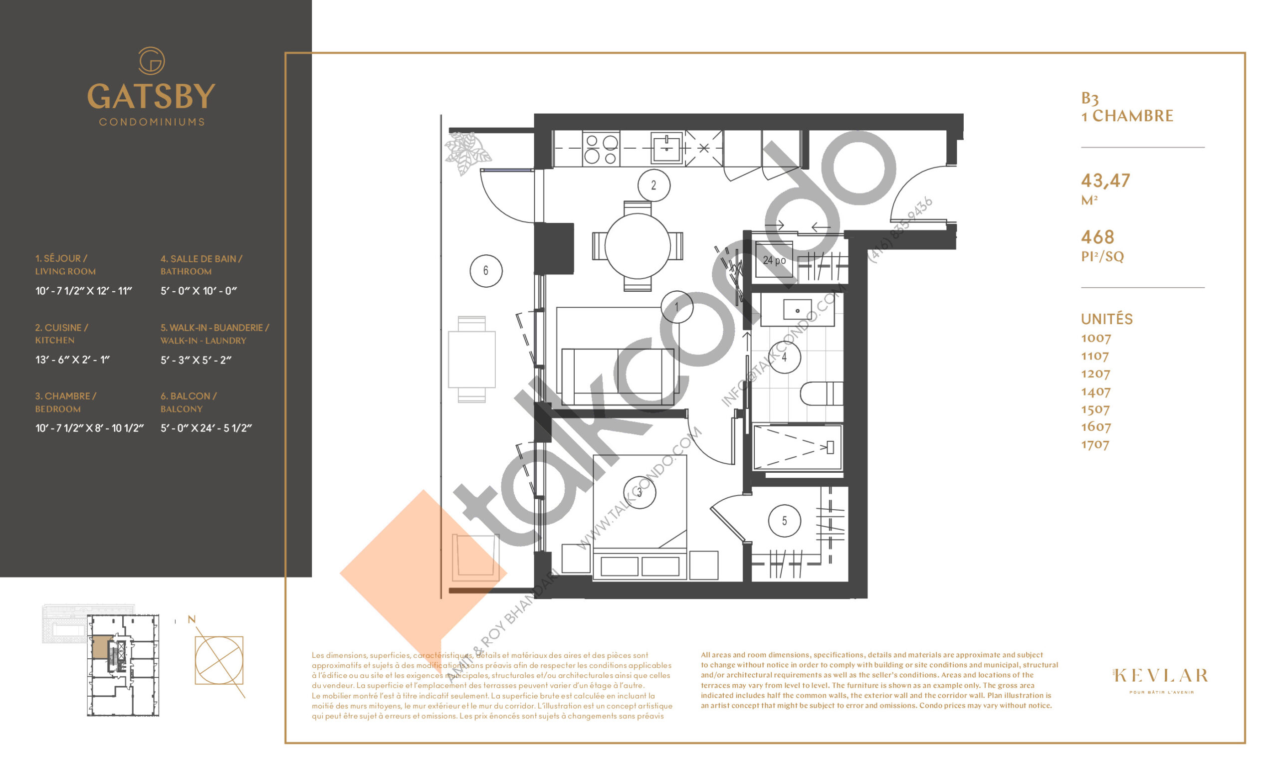 B3 Floor Plan at Gatsby Condos - 468 sq.ft