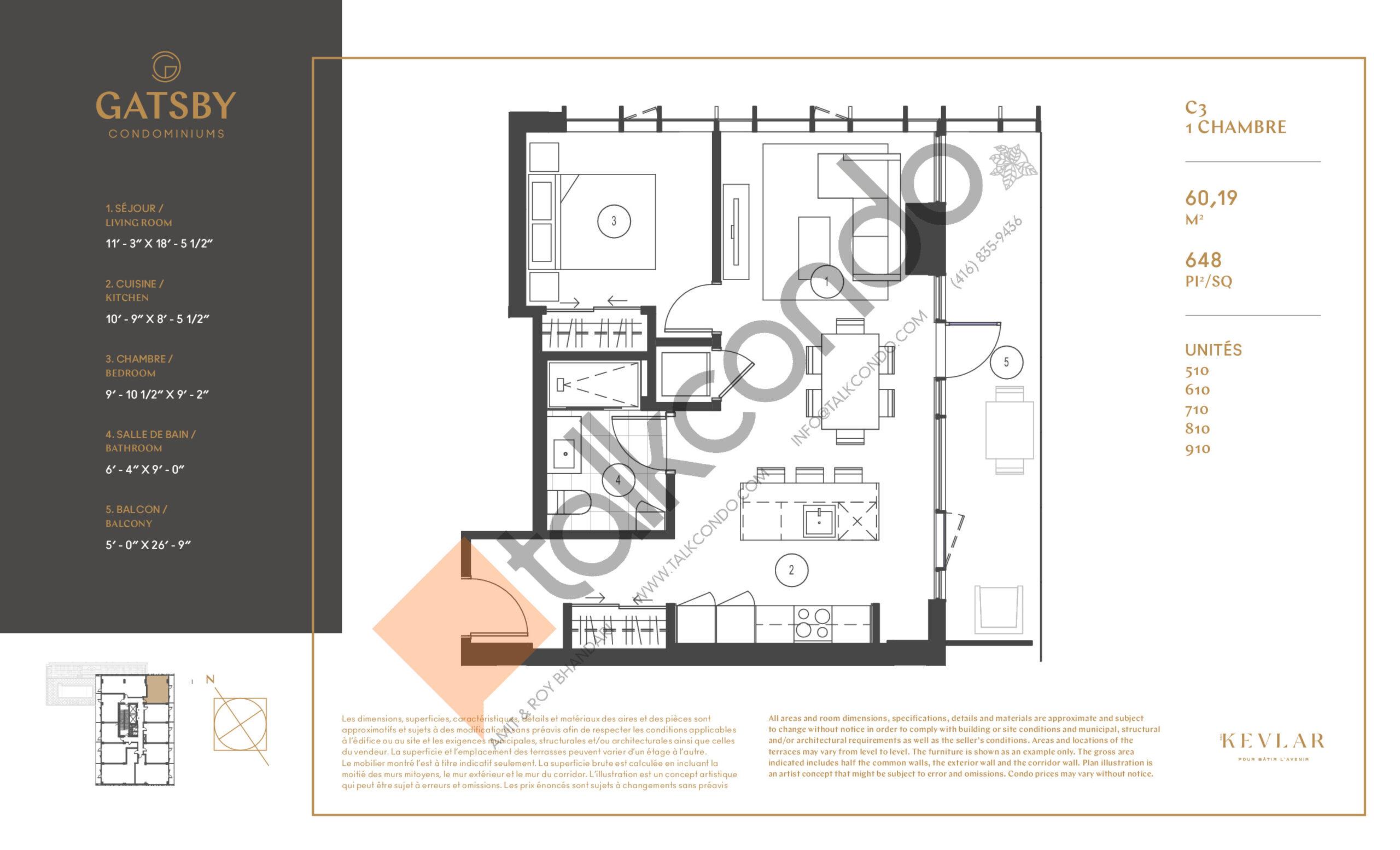 C3 Floor Plan at Gatsby Condos - 648 sq.ft