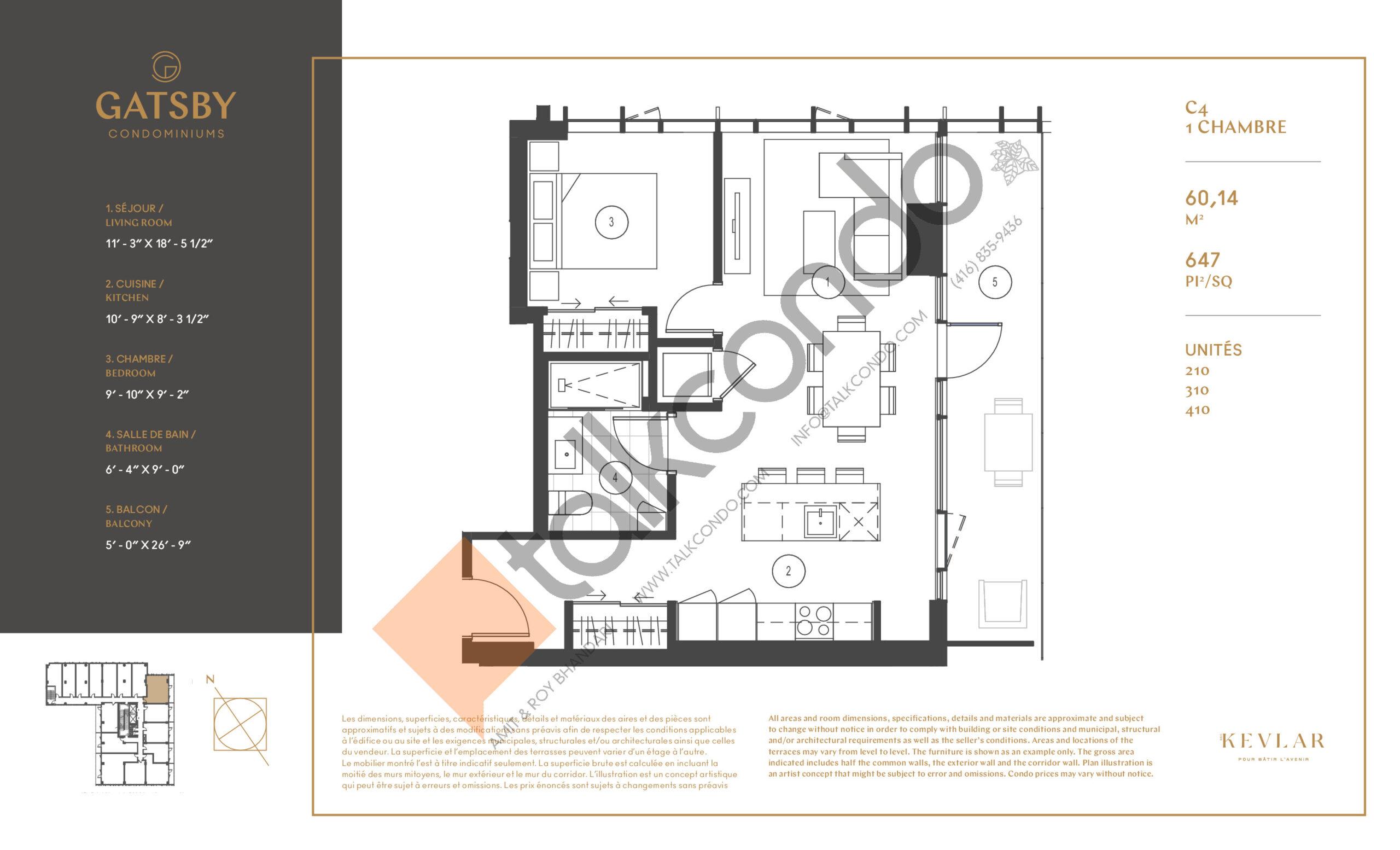 C4 Floor Plan at Gatsby Condos - 647 sq.ft