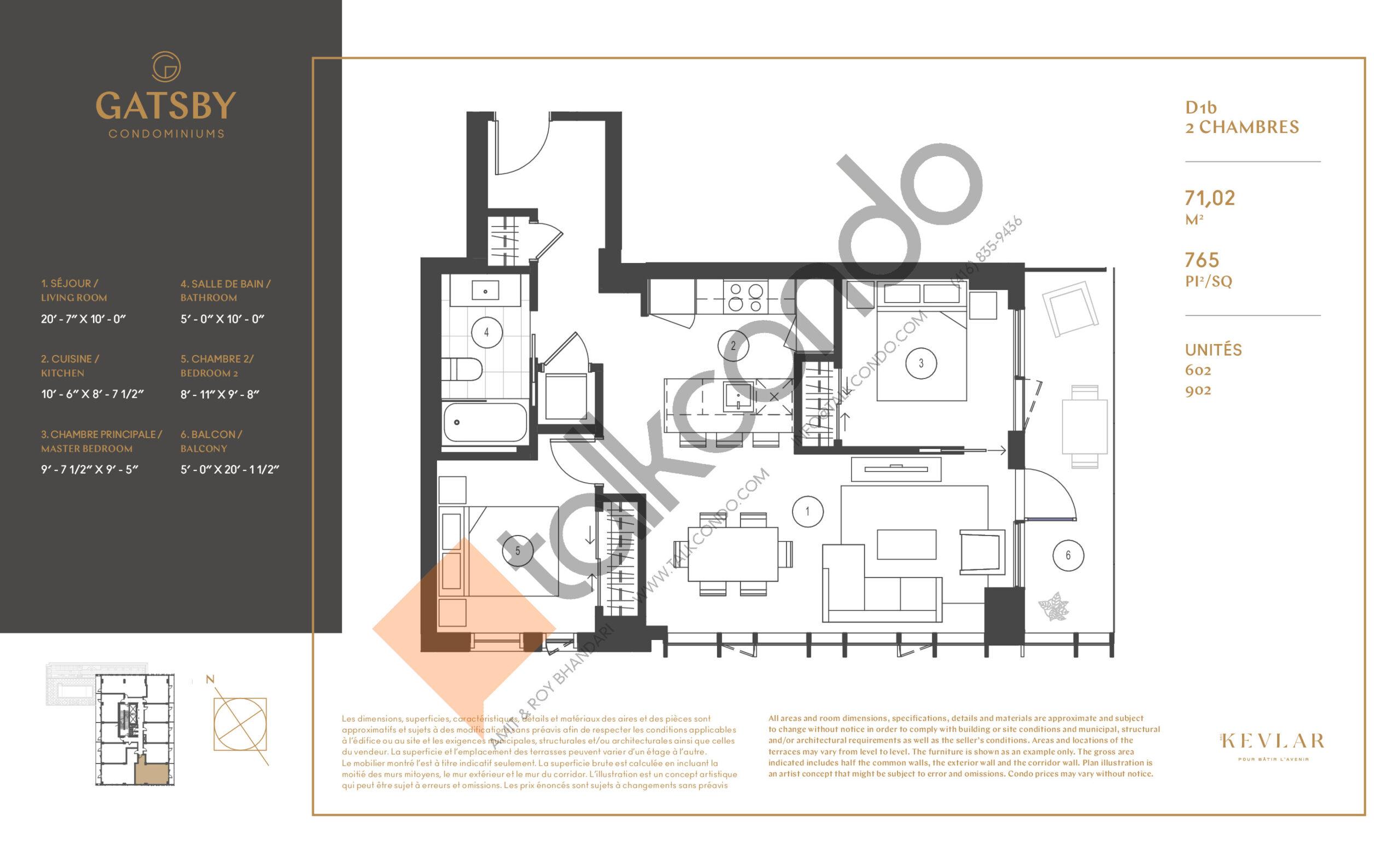 D1b Floor Plan at Gatsby Condos - 765 sq.ft