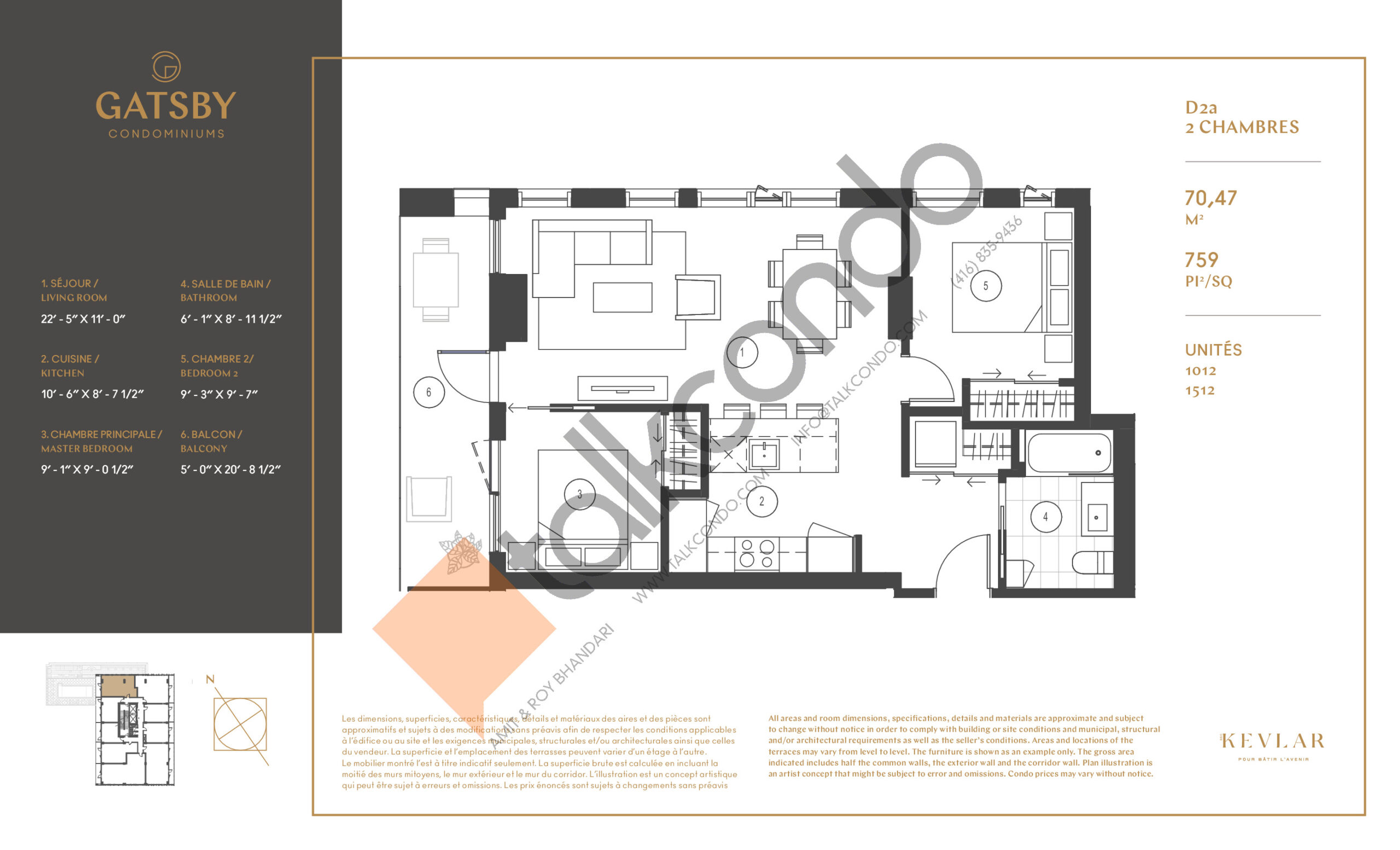D2a Floor Plan at Gatsby Condos - 759 sq.ft