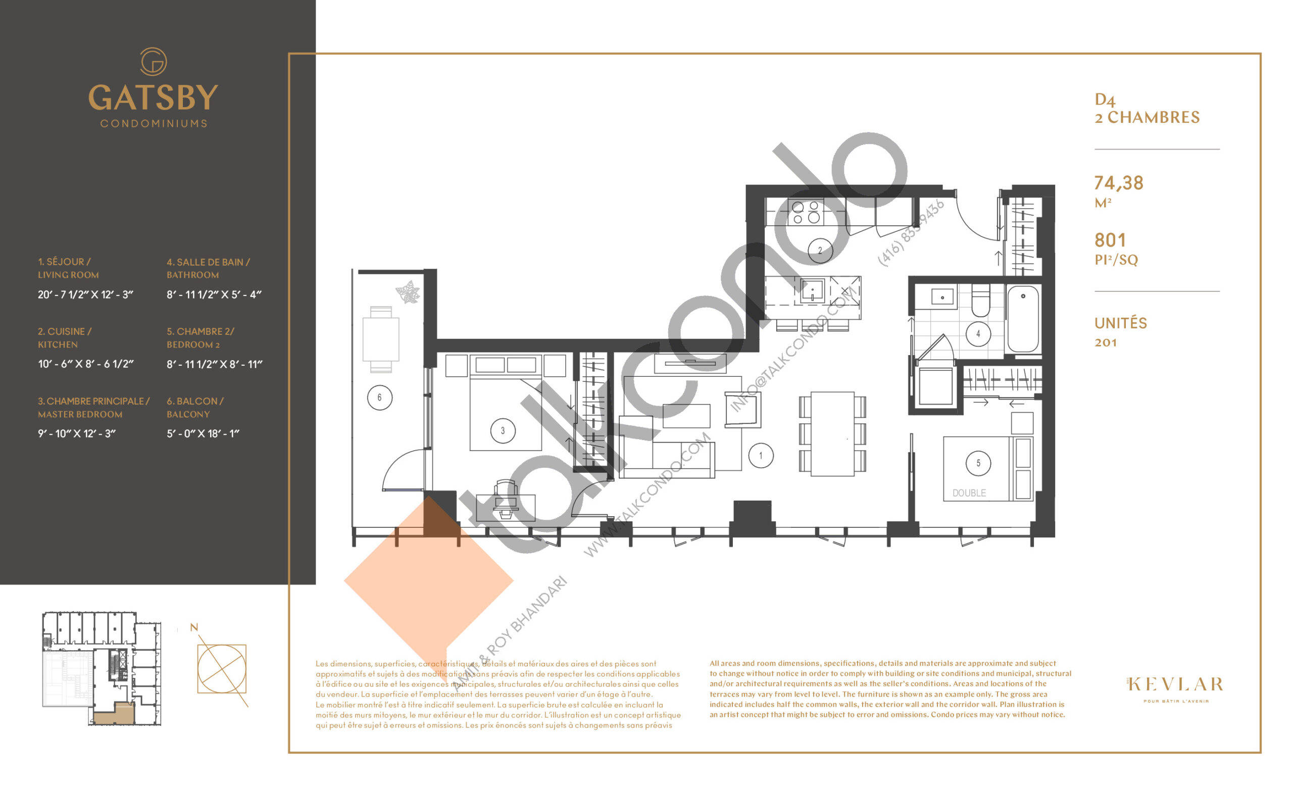 D4 Floor Plan at Gatsby Condos - 801 sq.ft