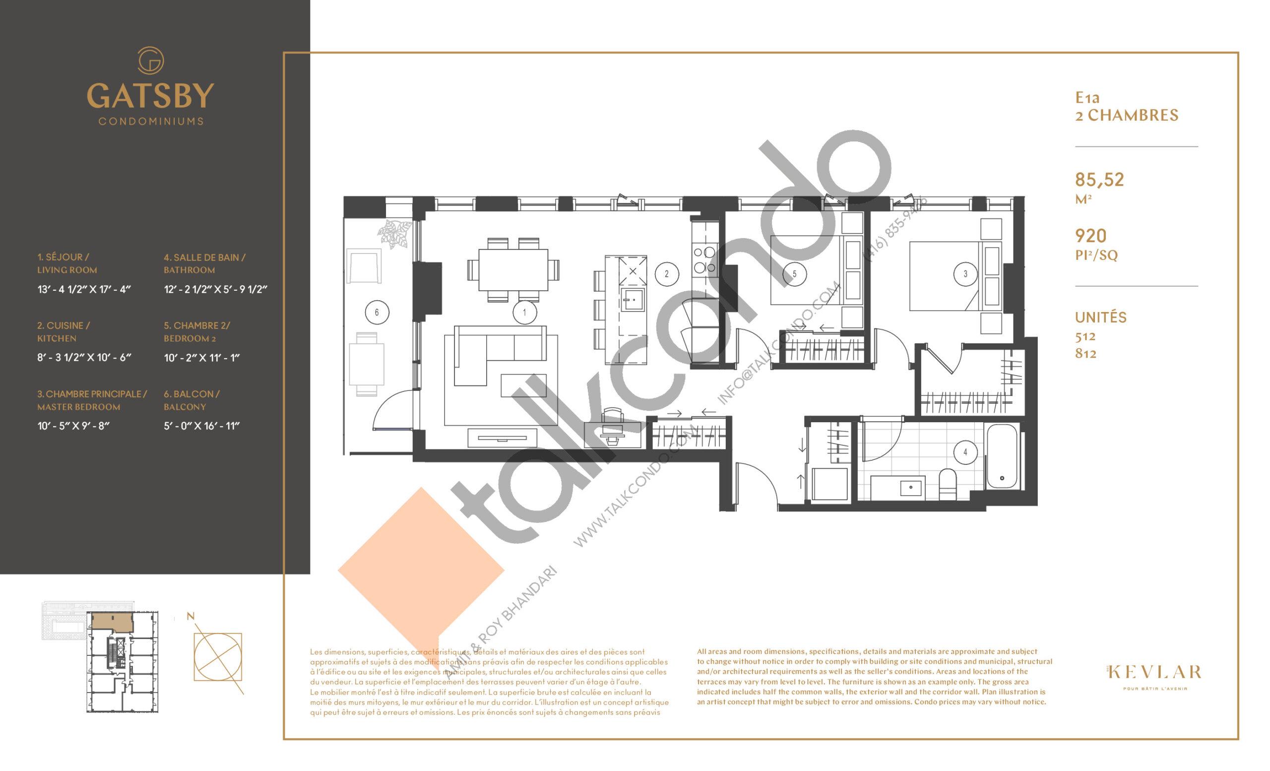 E1a Floor Plan at Gatsby Condos - 920 sq.ft