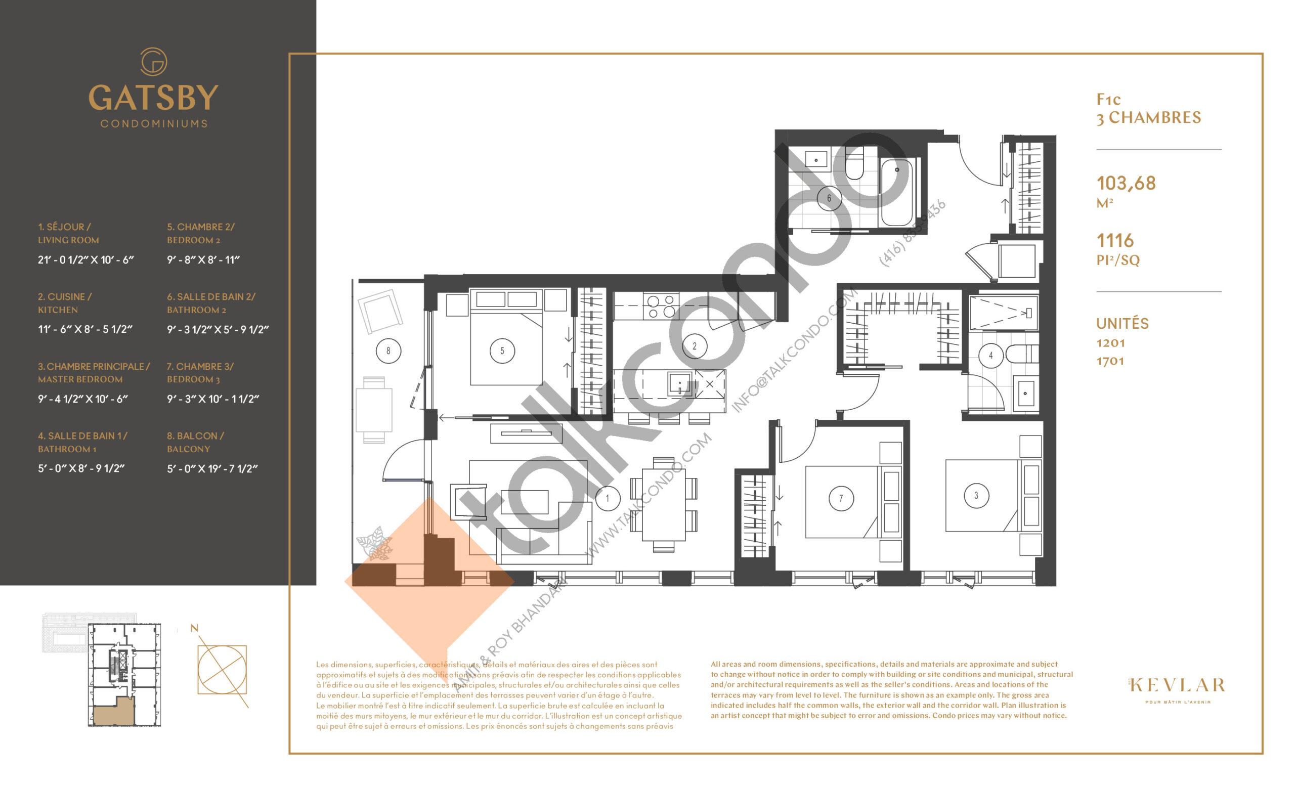 F1c Floor Plan at Gatsby Condos - 1116 sq.ft