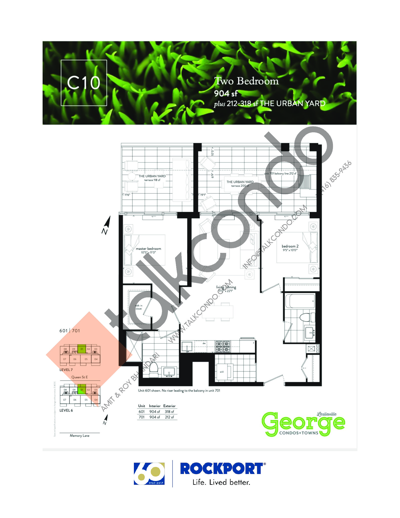C10 Floor Plan at George Condos & Towns - 904 sq.ft
