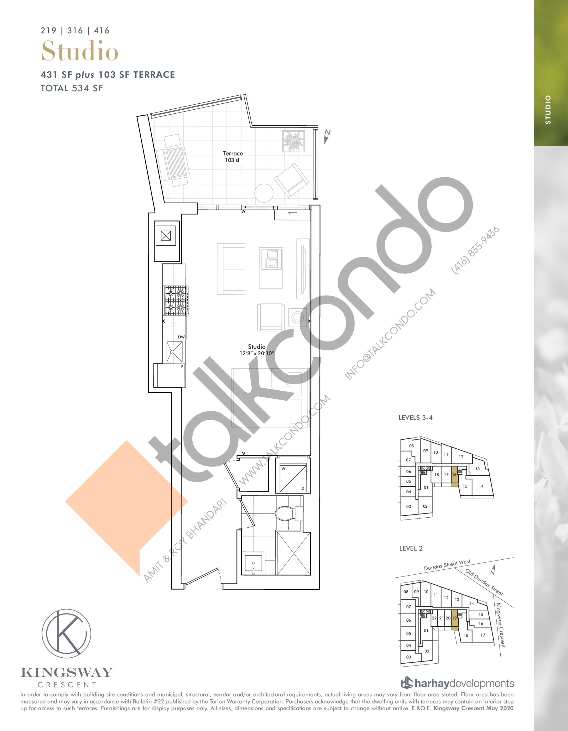 219 | 316 | 416 Floor Plan at Kingsway Crescent Condos - 431 sq.ft