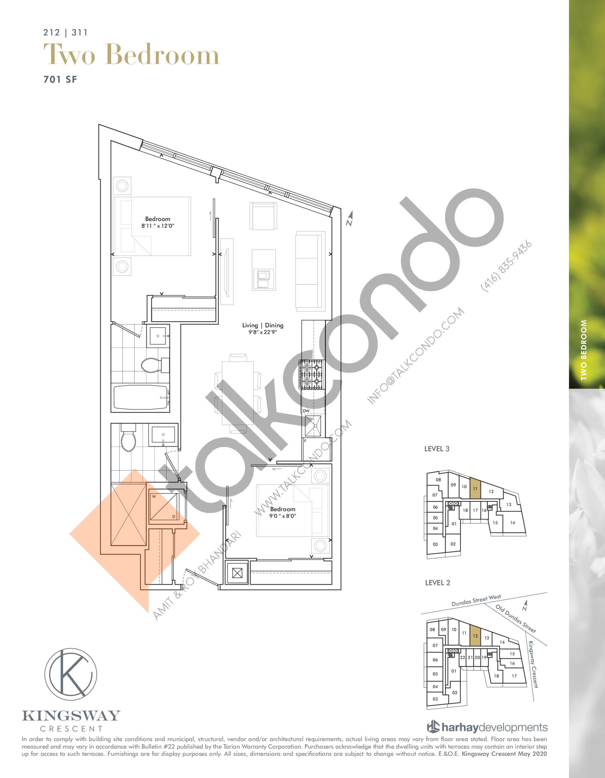 212   311 Floor Plan at Kingsway Crescent Condos - 701 sq.ft
