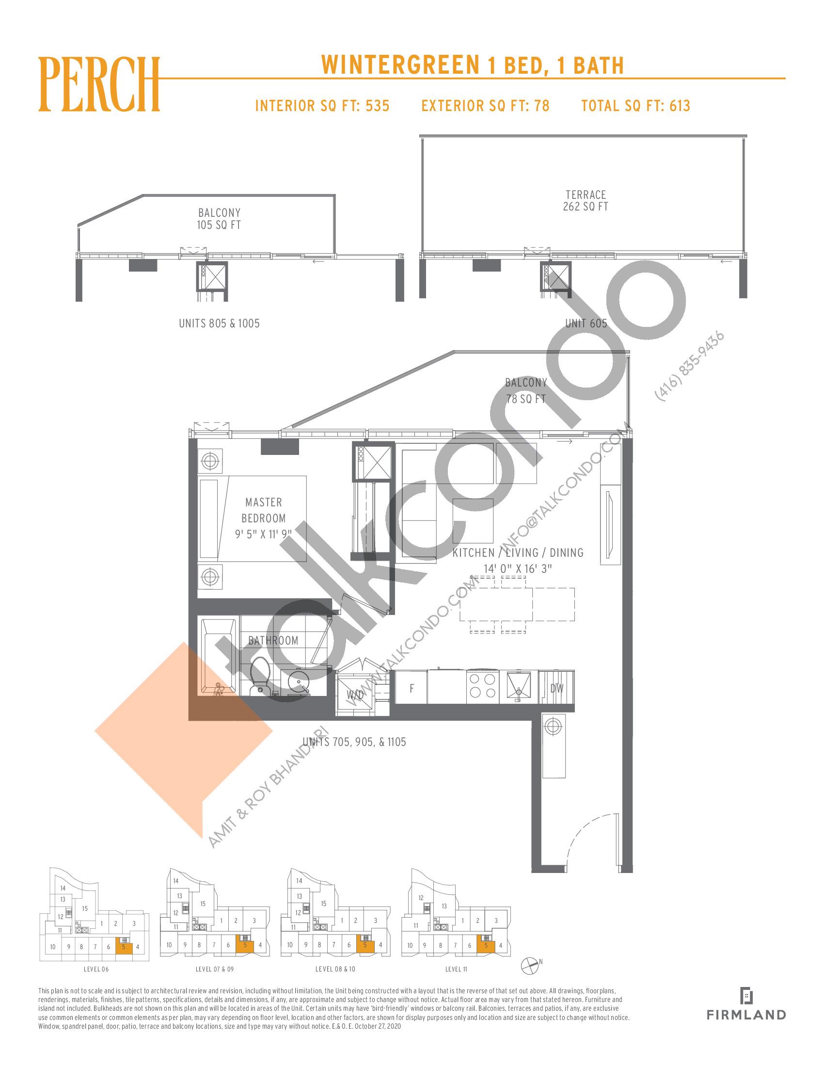 Wintergreen Floor Plan at Perch Condos - 535 sq.ft