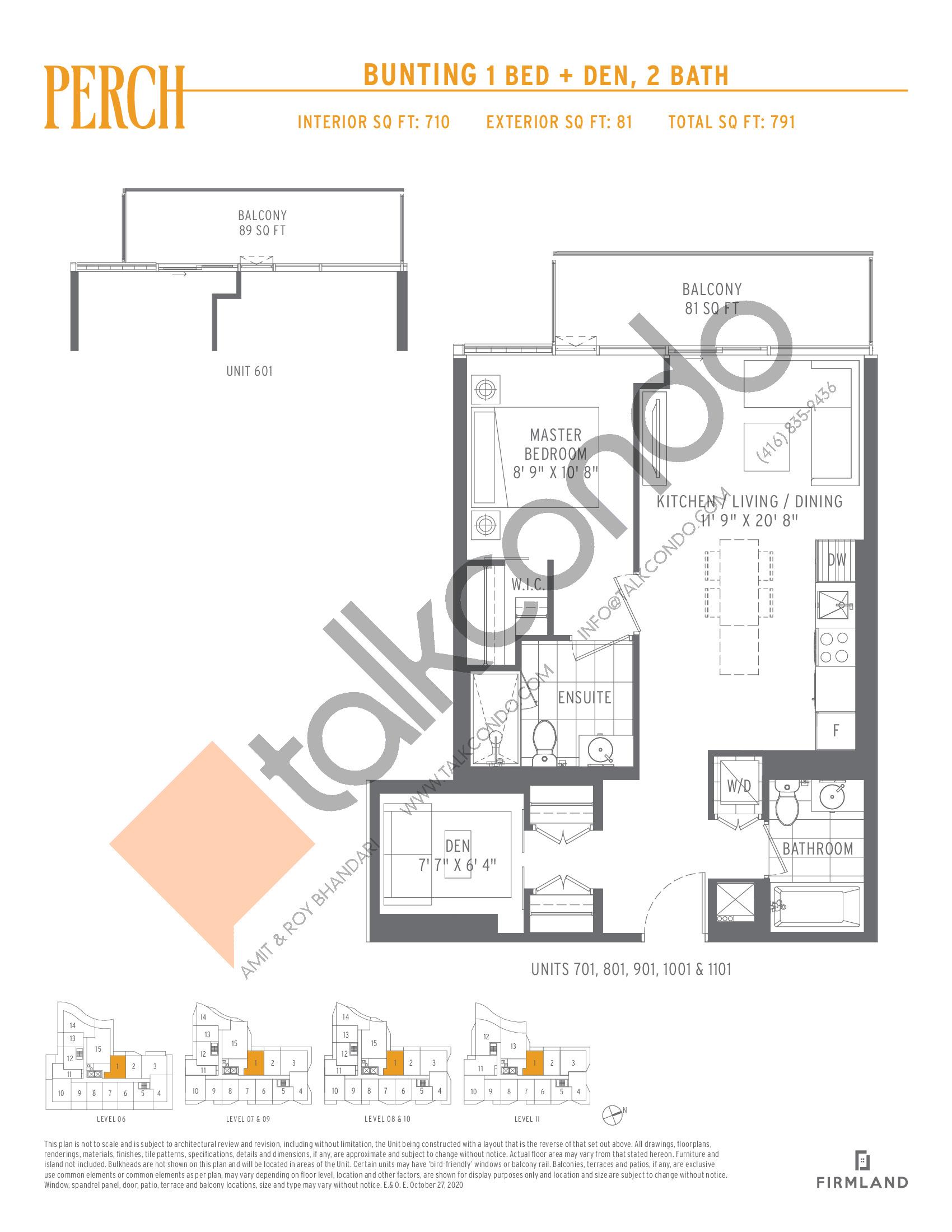 Bunting Floor Plan at Perch Condos - 710 sq.ft