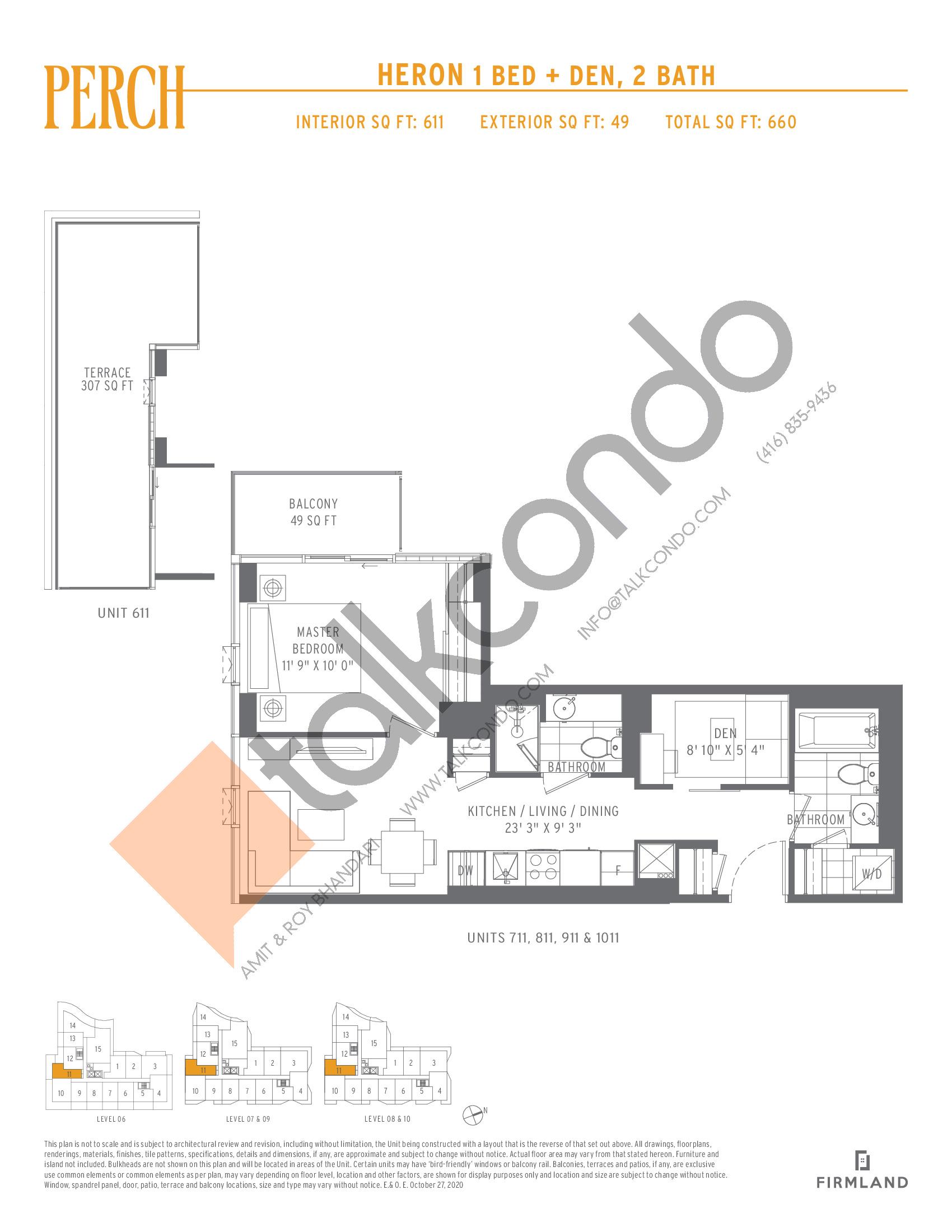 Heron Floor Plan at Perch Condos - 611 sq.ft