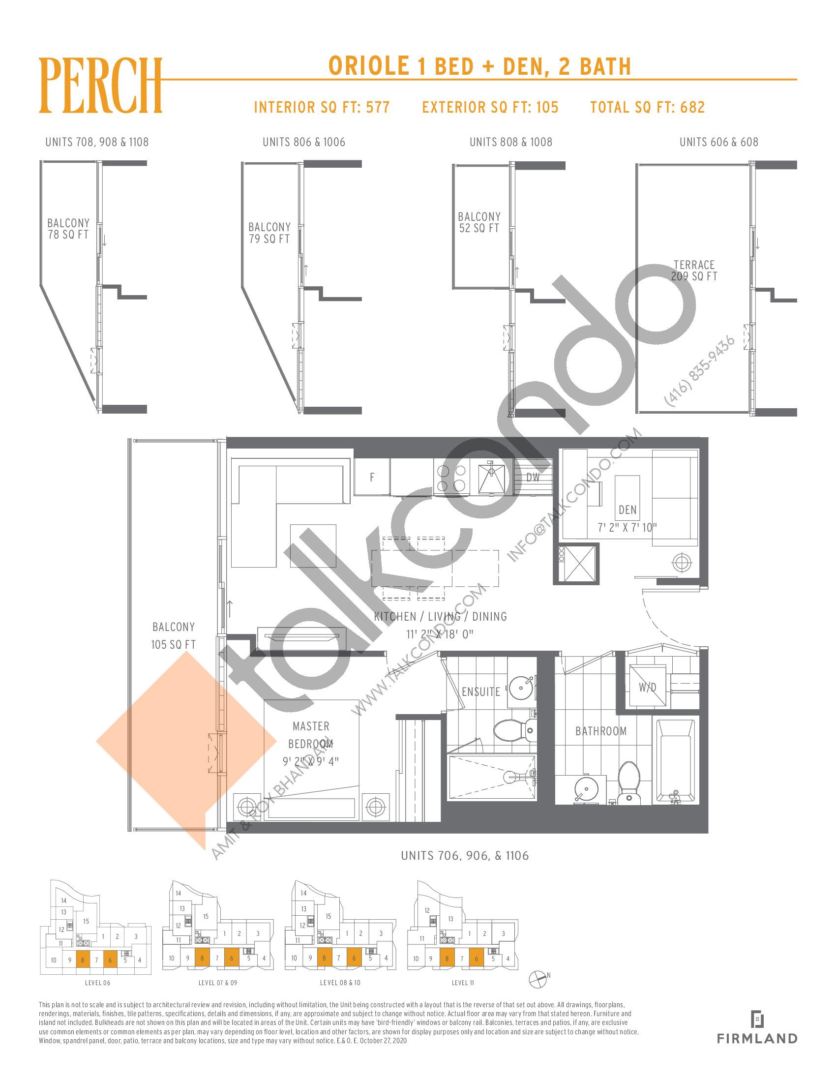 Oriole Floor Plan at Perch Condos - 577 sq.ft