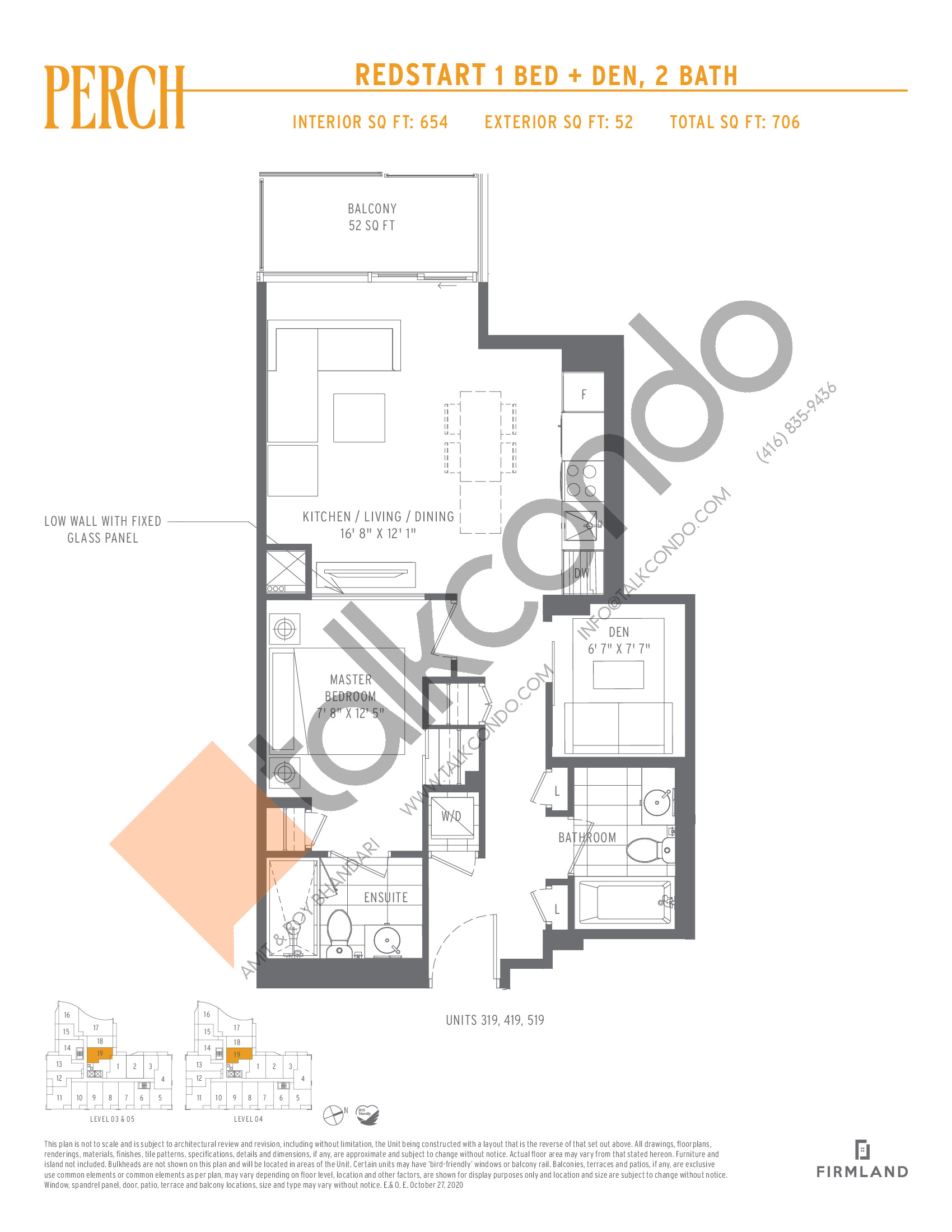 Redstart Floor Plan at Perch Condos - 654 sq.ft
