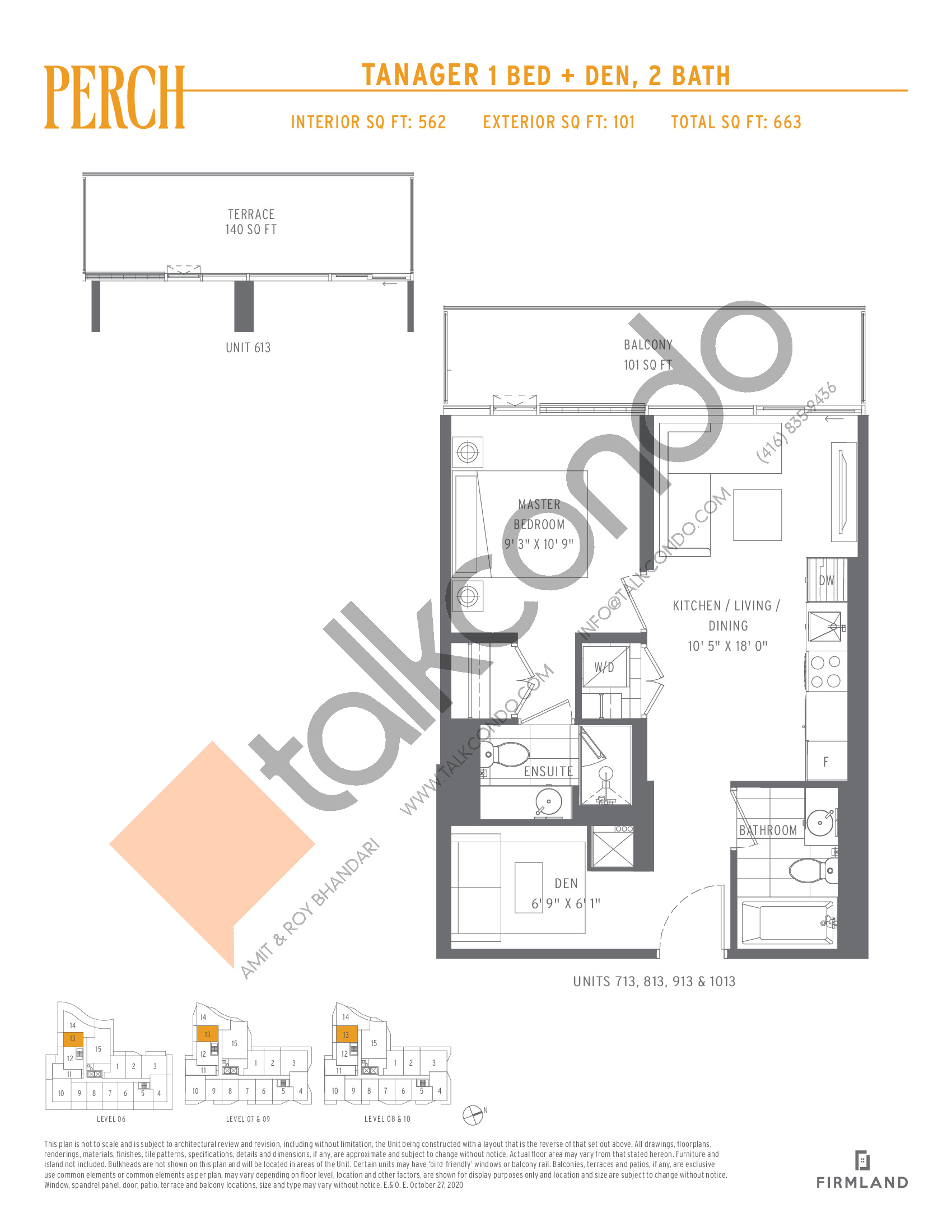 Tanager Floor Plan at Perch Condos - 562 sq.ft