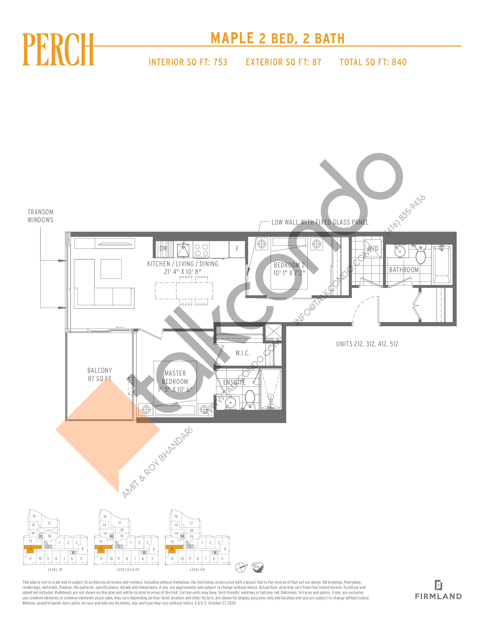 Maple Floor Plan at Perch Condos - 753 sq.ft