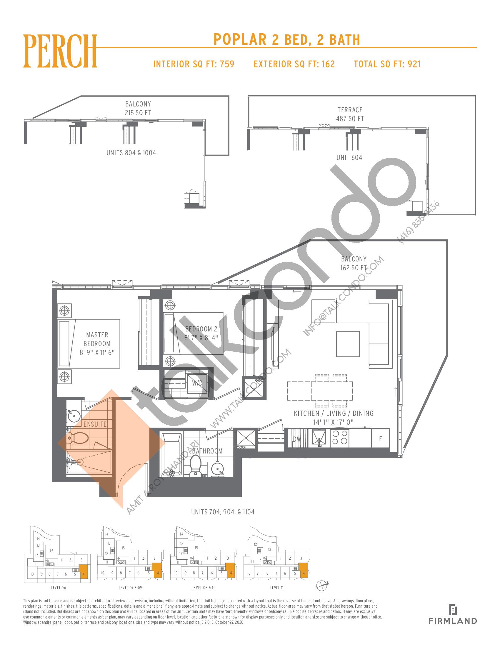 Poplar Floor Plan at Perch Condos - 759 sq.ft