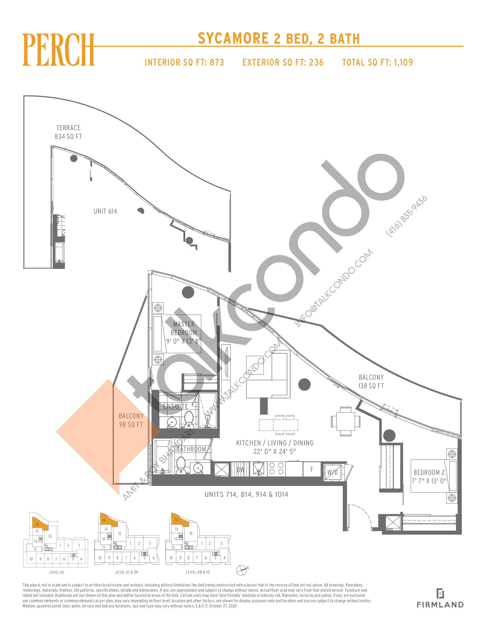 Sycamore Floor Plan at Perch Condos - 873 sq.ft