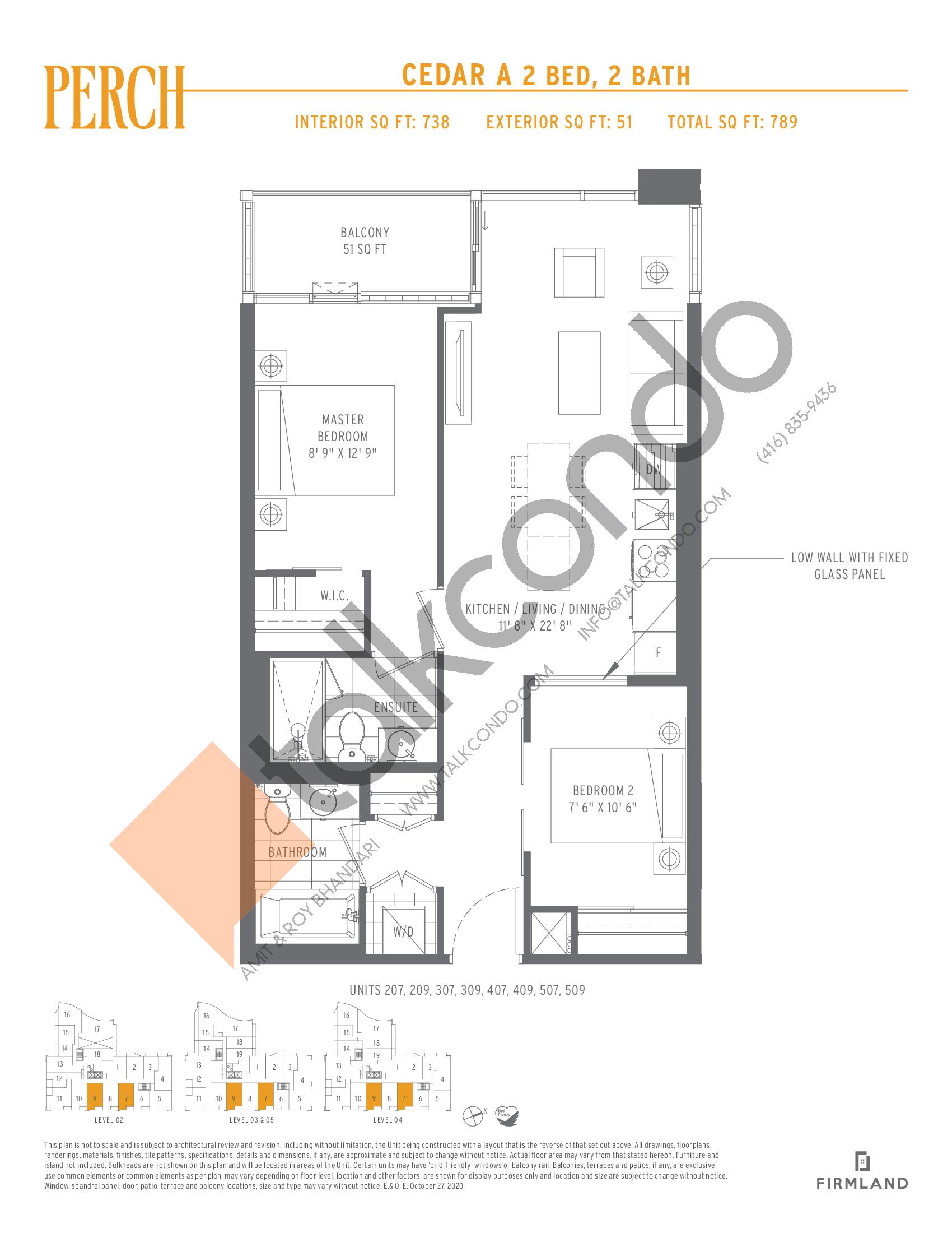 Cedar A Floor Plan at Perch Condos - 738 sq.ft