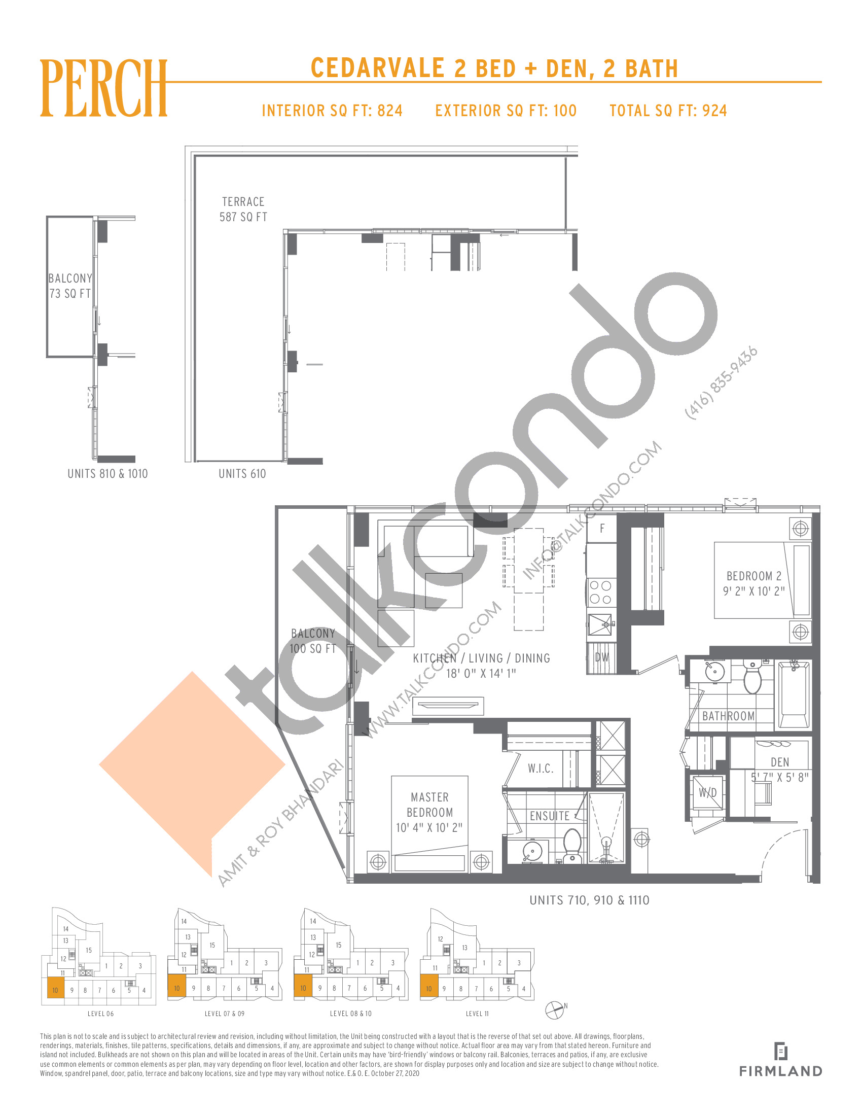 Cedarvale Floor Plan at Perch Condos - 824 sq.ft