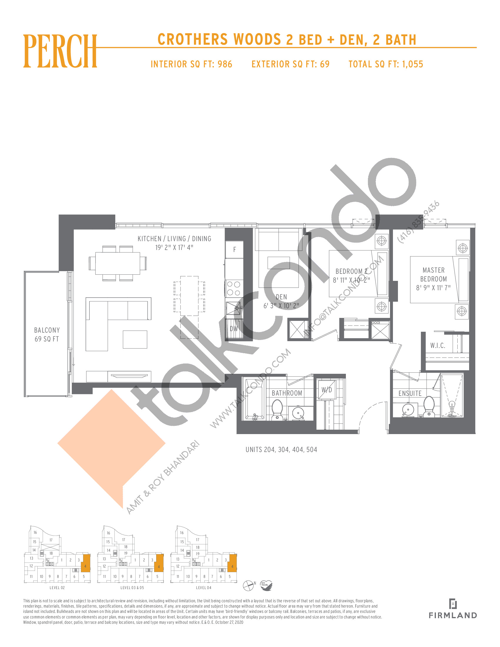 Crothers Woods Floor Plan at Perch Condos - 986 sq.ft
