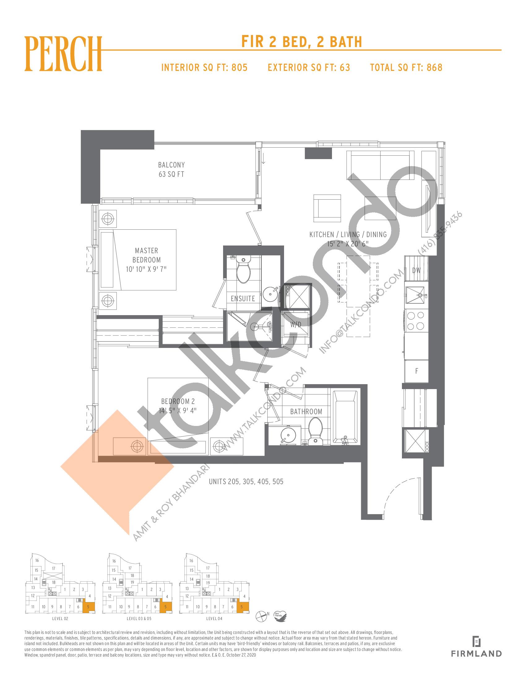 Fir Floor Plan at Perch Condos - 805 sq.ft