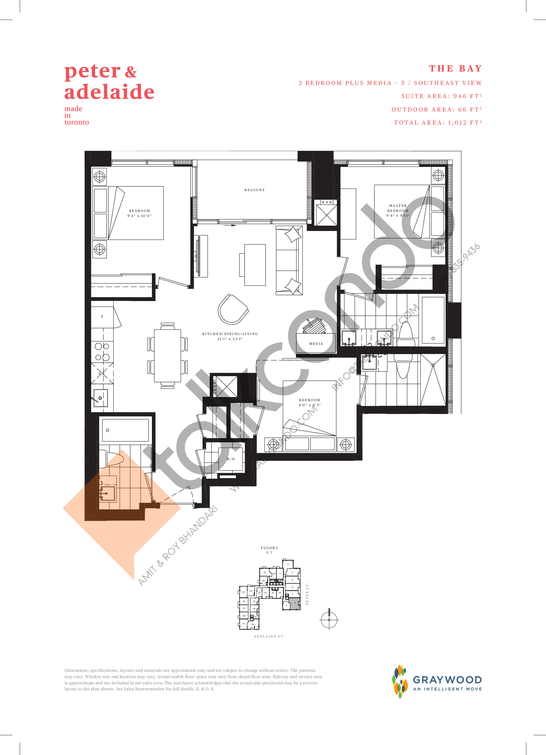 The Bay Floor Plan at Peter & Adelaide Condos - 946 sq.ft