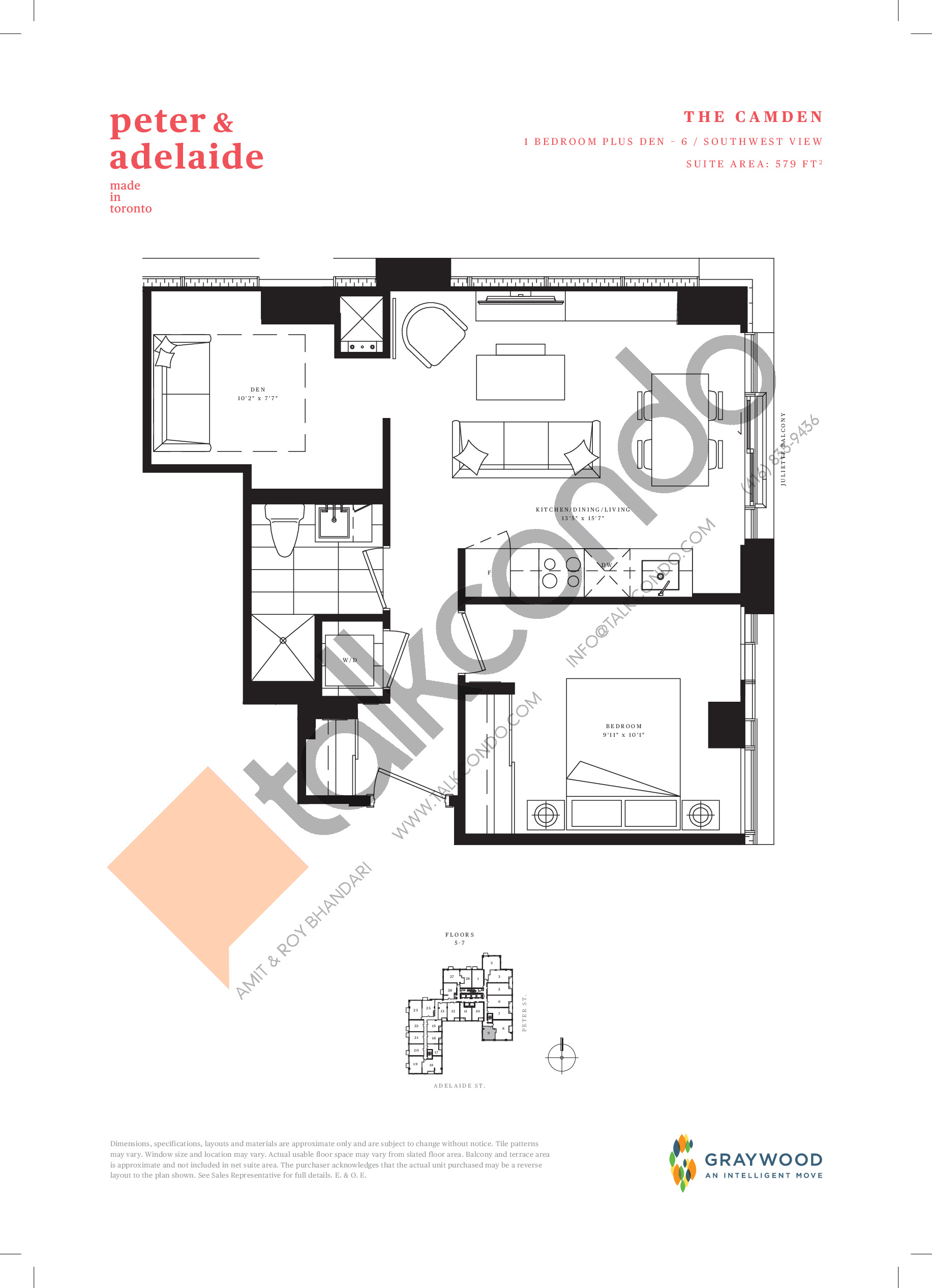 The Camden Floor Plan at Peter & Adelaide Condos - 579 sq.ft