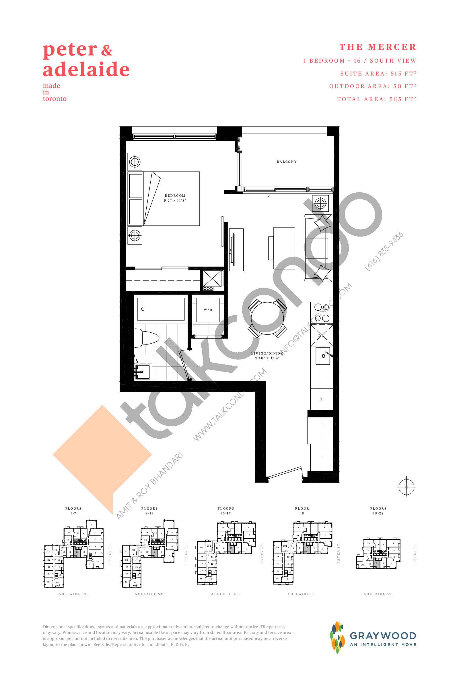 The Mercer Floor Plan at Peter & Adelaide Condos - 515 sq.ft