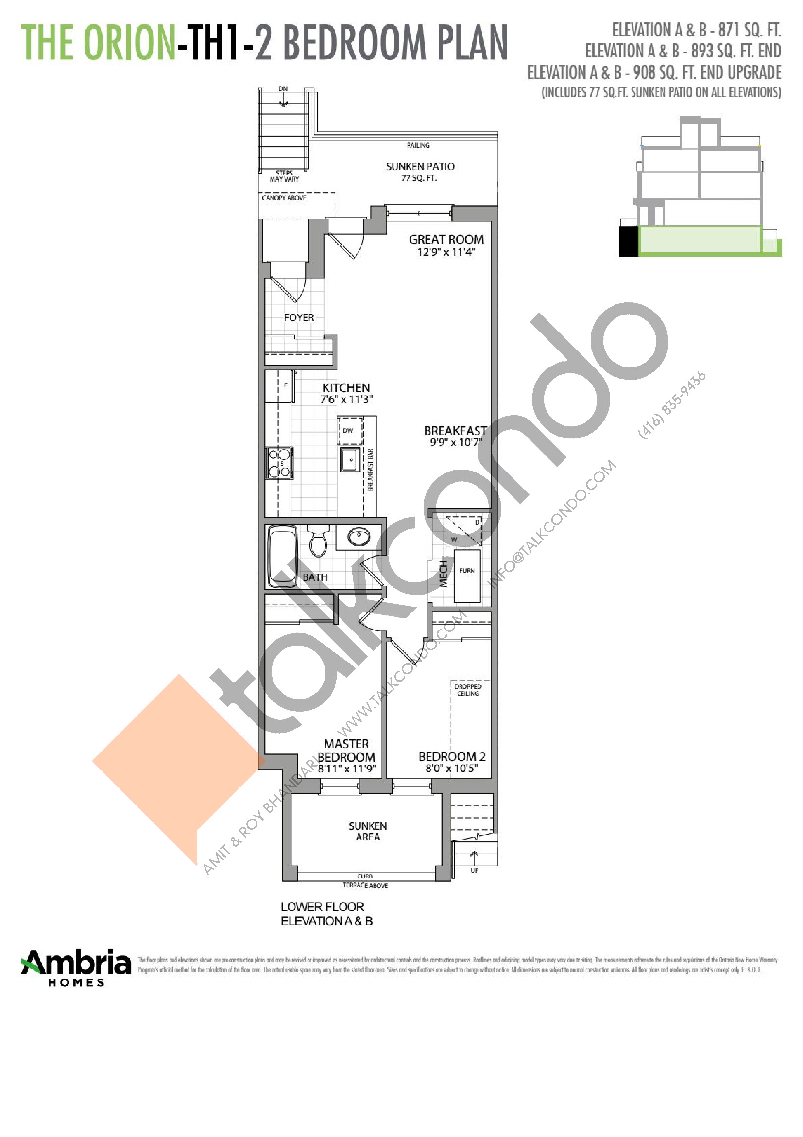 The Orion Floor Plan at Presto Towns - 893 sq.ft