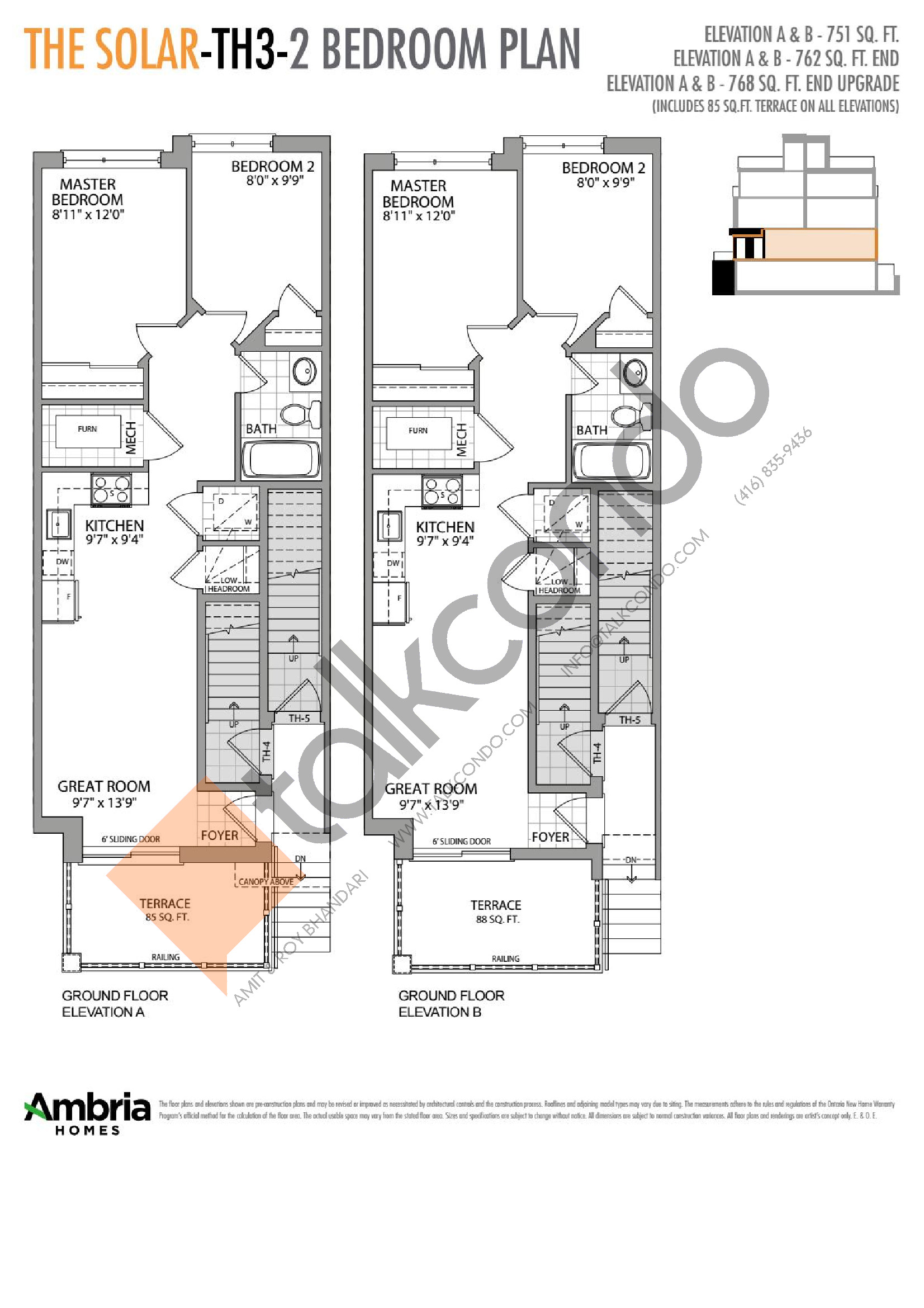 The Solar Floor Plan at Presto Towns - 762 sq.ft