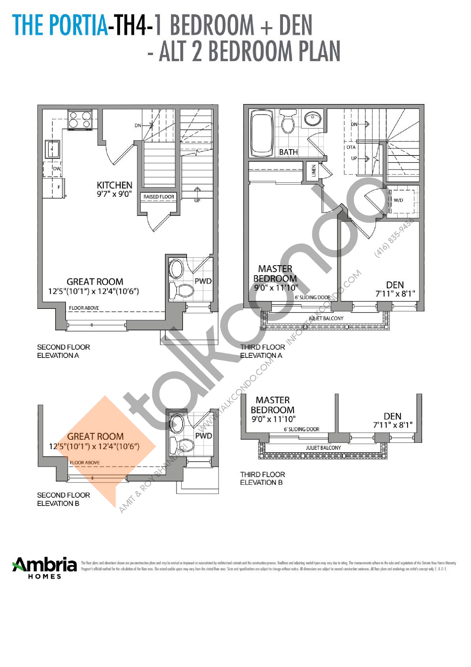 The Portia (1/2) Floor Plan at Presto Towns - 1217 sq.ft