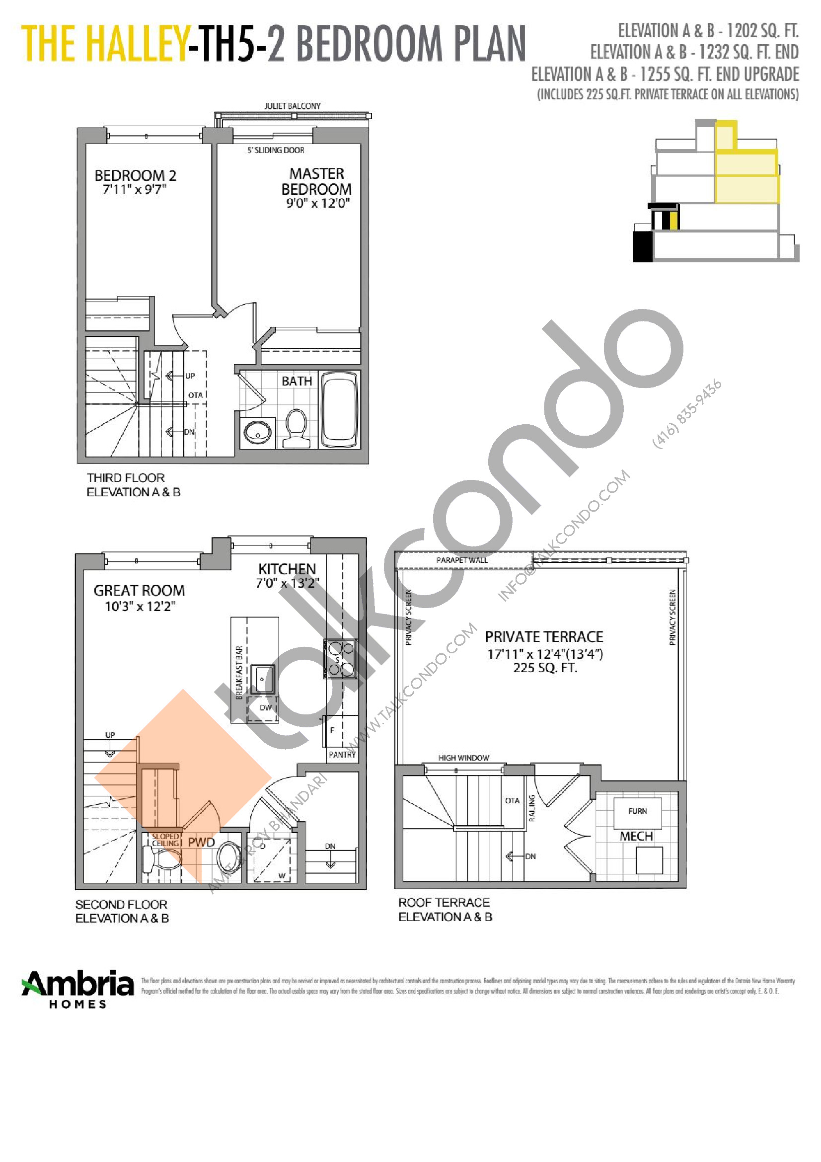 The Halley Floor Plan at Presto Towns - 1232 sq.ft