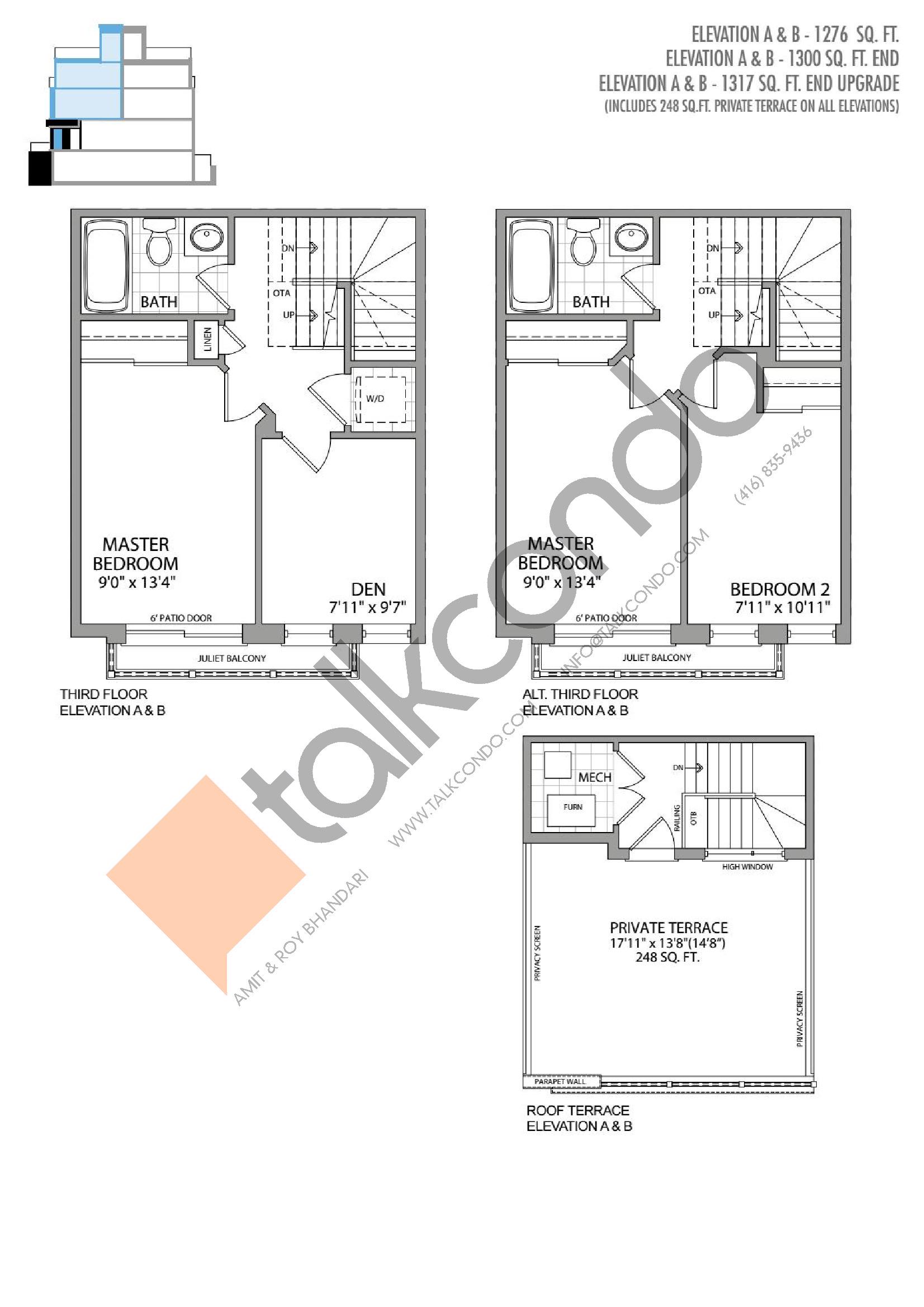 The Regil (2/2) Floor Plan at Presto Towns - 1300 sq.ft