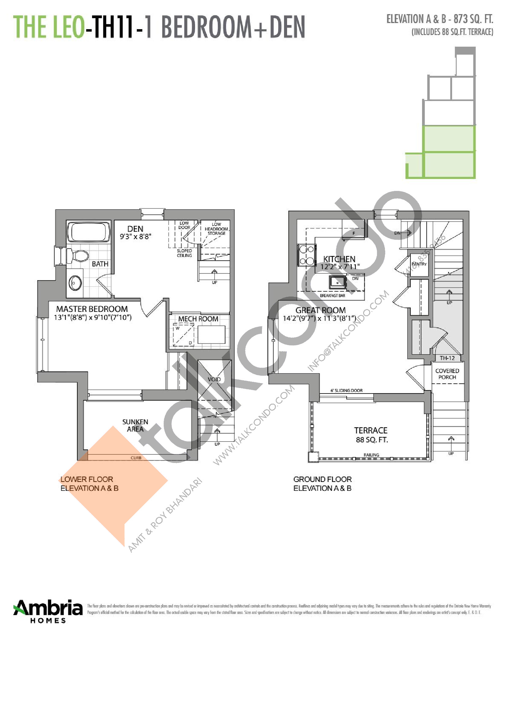 The Leo Floor Plan at Presto Towns - 873 sq.ft