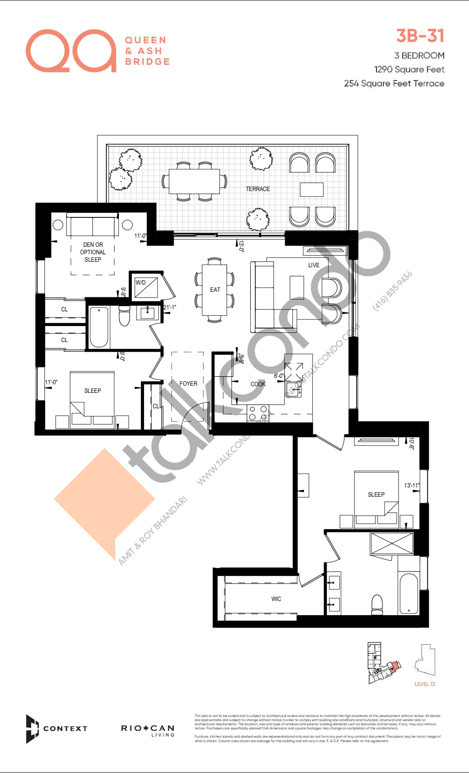 3B-31 Floor Plan at QA Condos - 1290 sq.ft