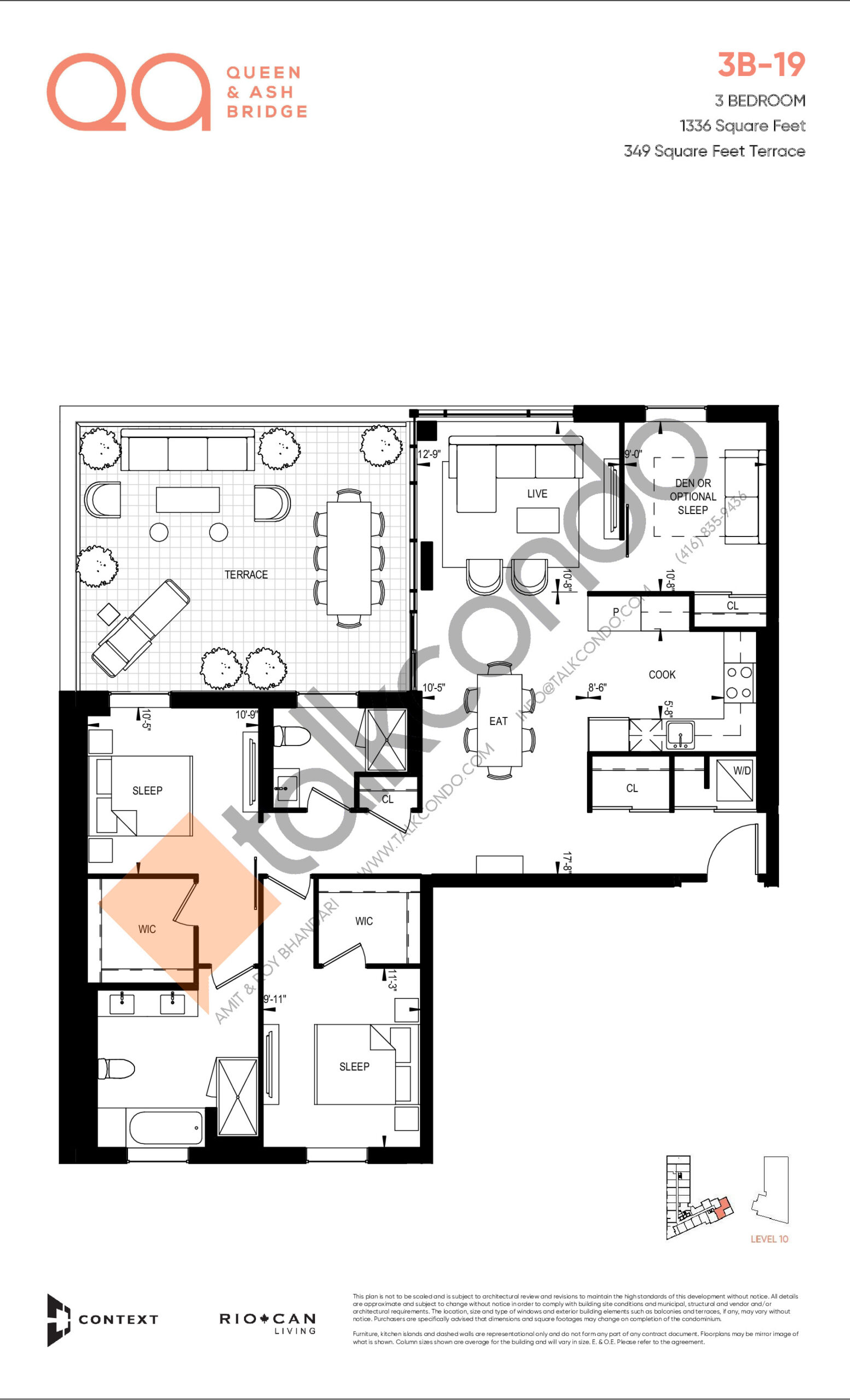 3B-19 Floor Plan at QA Condos - 1336 sq.ft