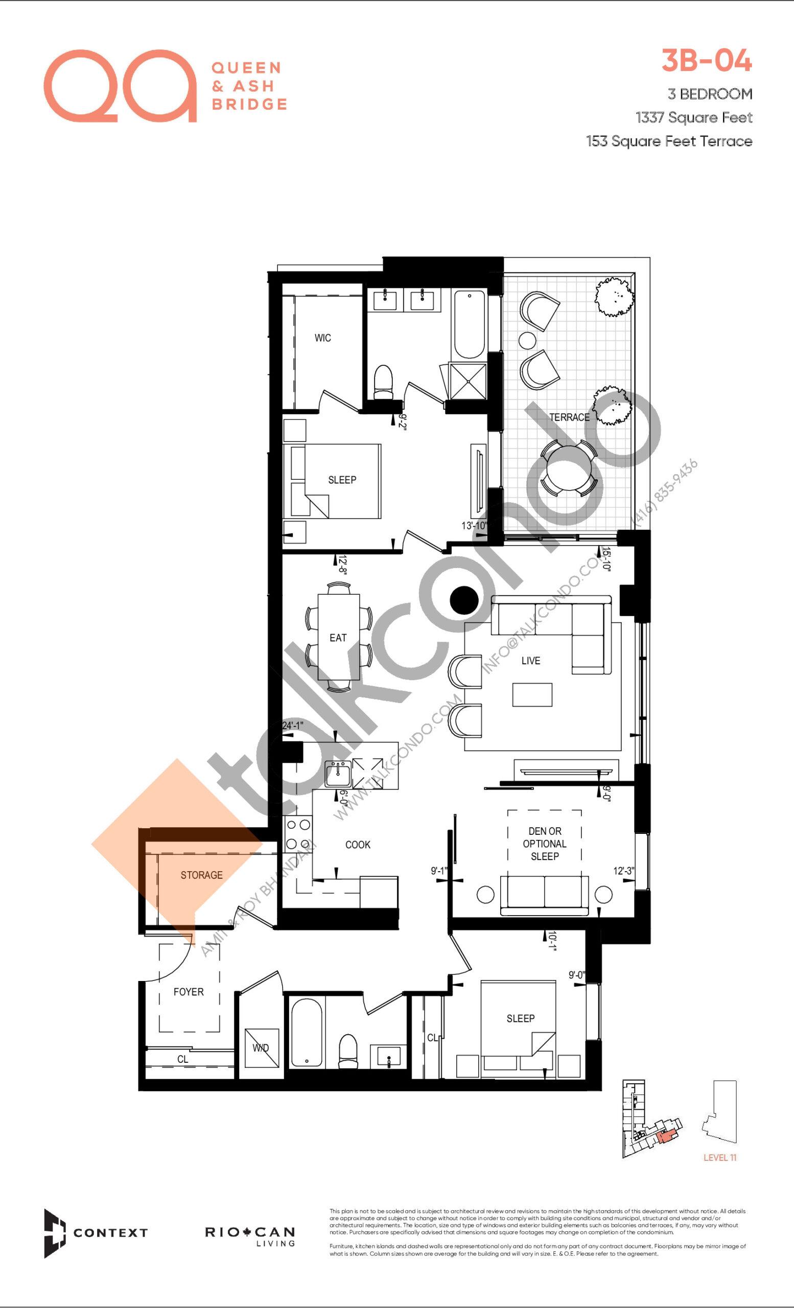 3B-04 Floor Plan at QA Condos - 1337 sq.ft