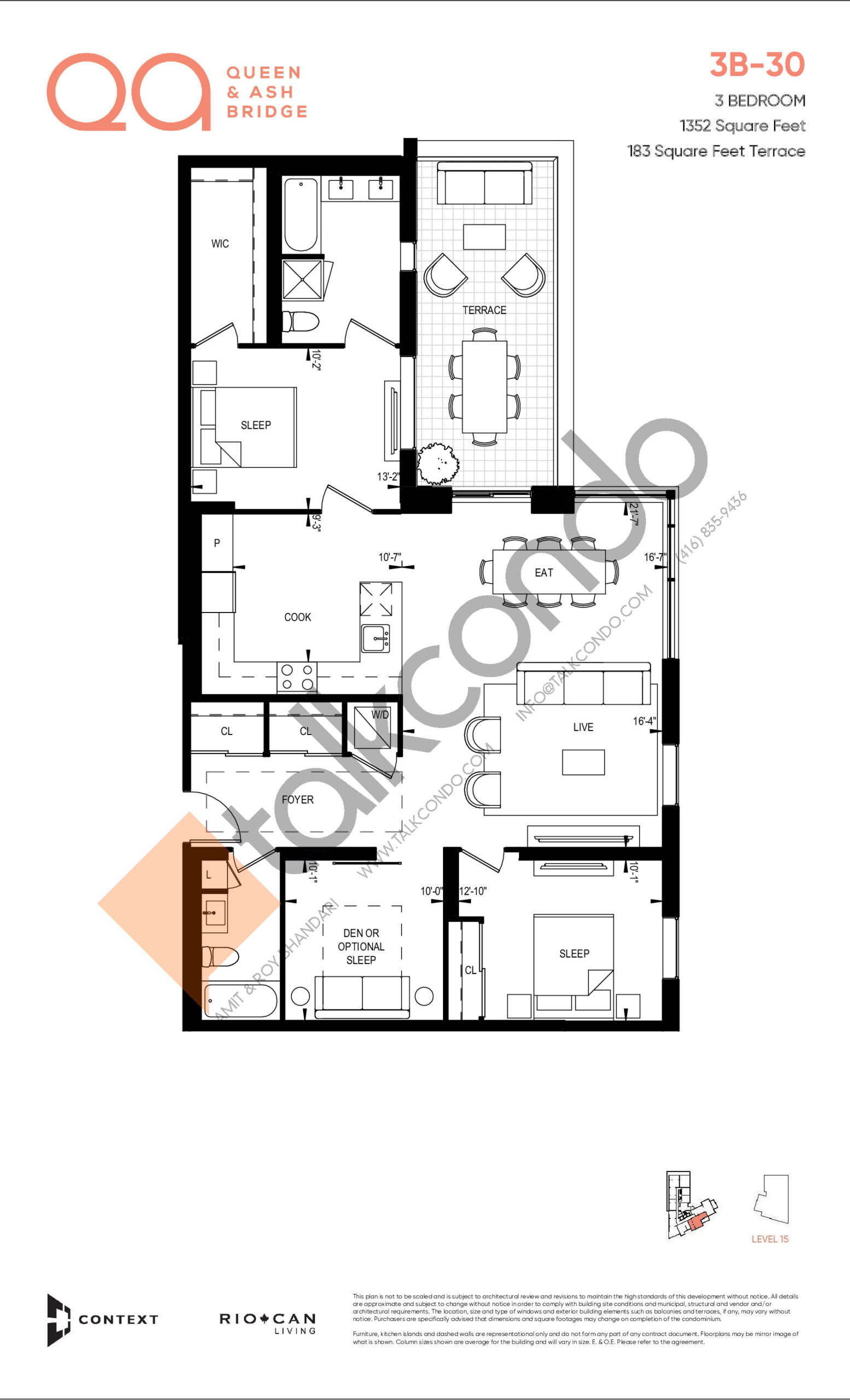 3B-30 Floor Plan at QA Condos - 1352 sq.ft