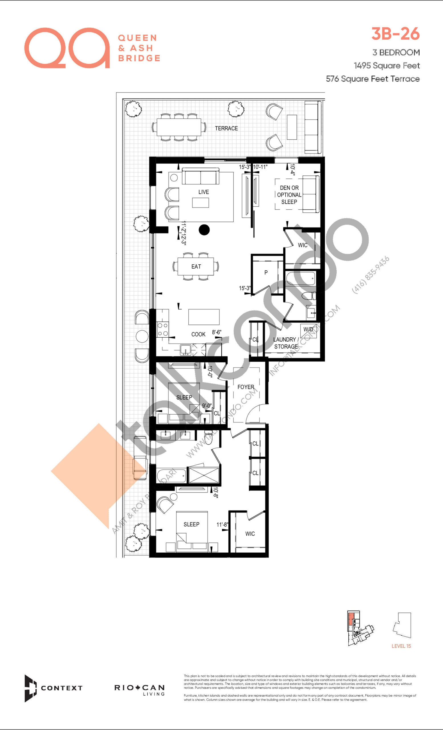 3B-26 Floor Plan at QA Condos - 1495 sq.ft