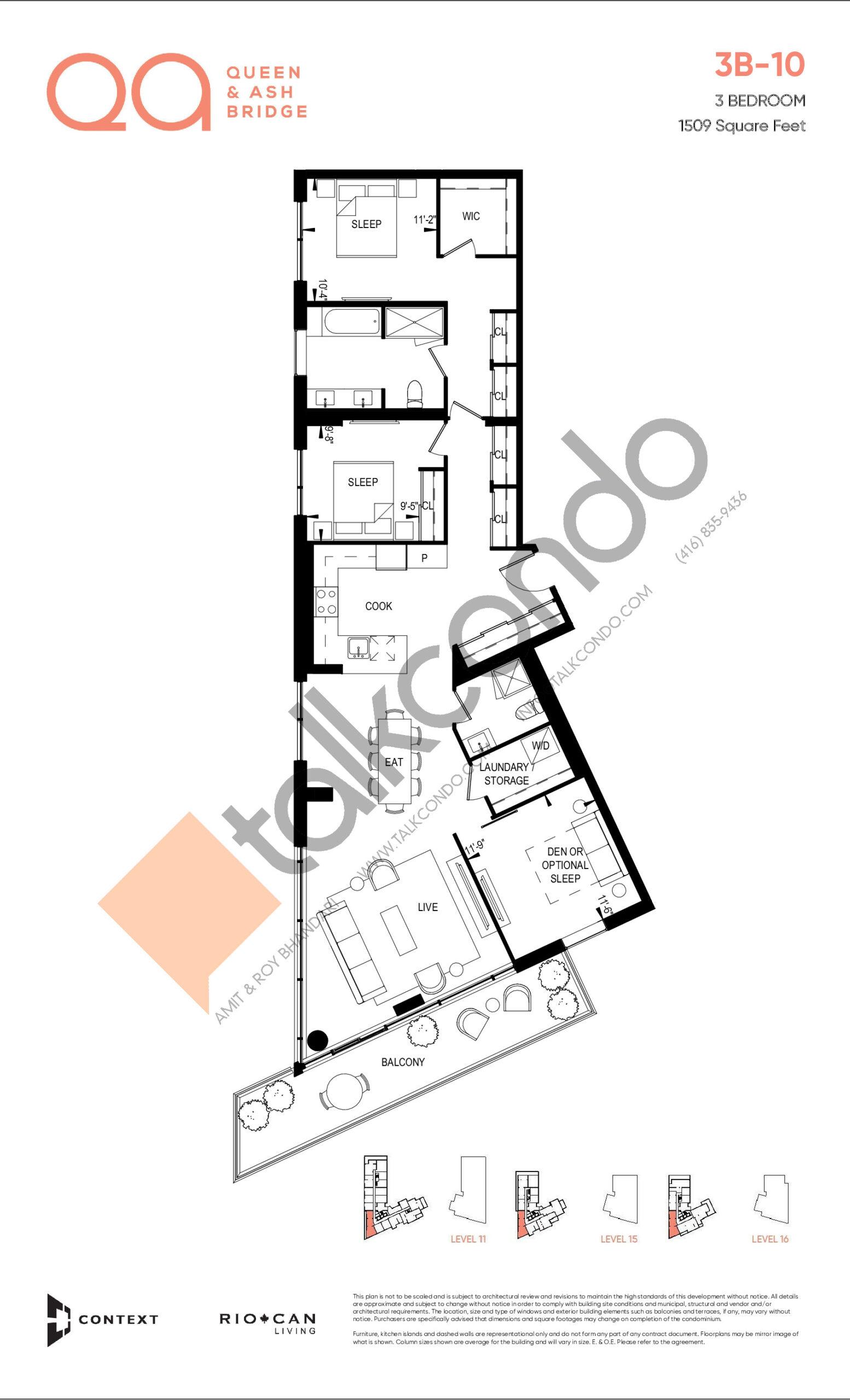 3B-10 Floor Plan at QA Condos - 1509 sq.ft